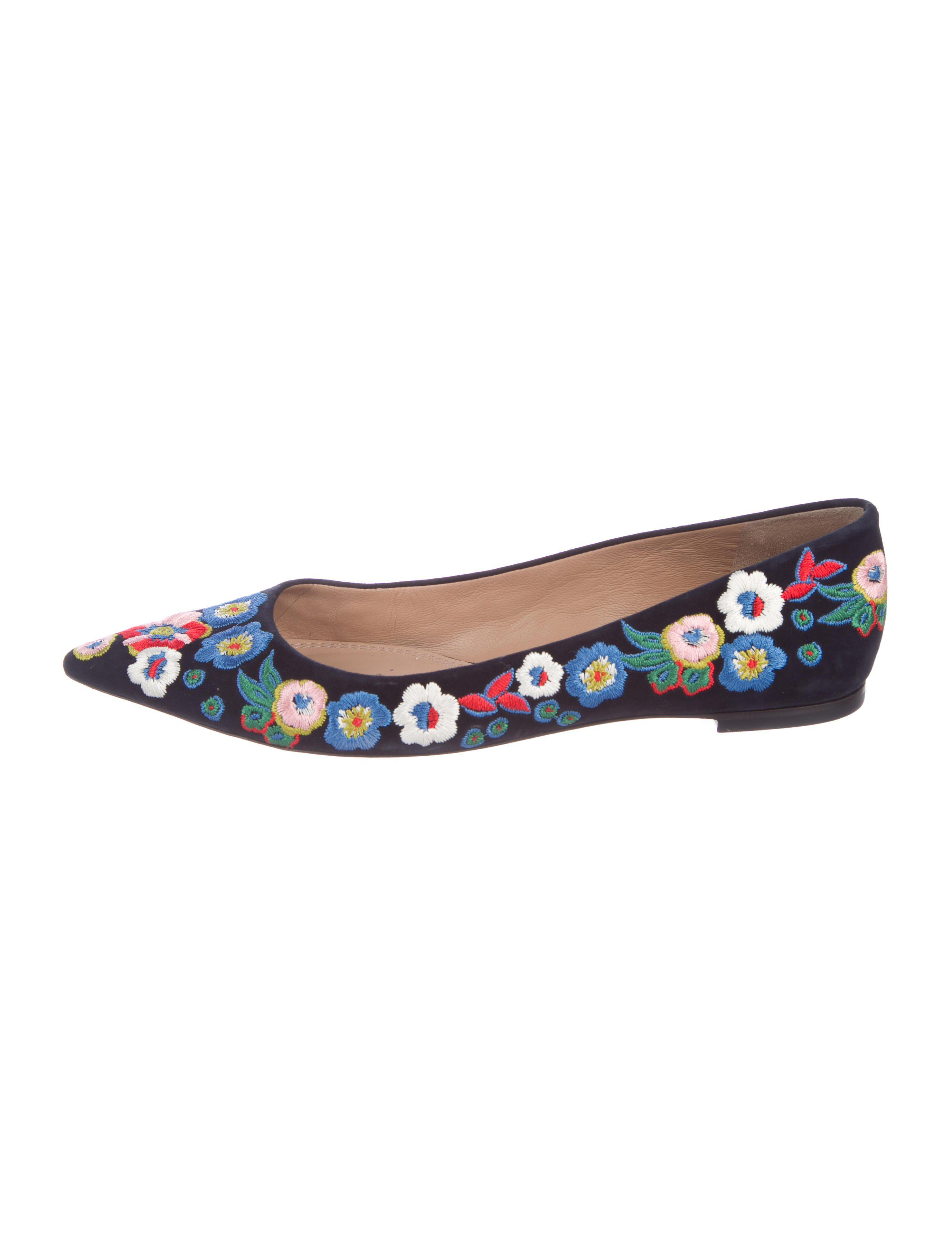 3cb040f3a6d341 Lyst - Tory Burch Rosemont Embroidered Flats in Blue