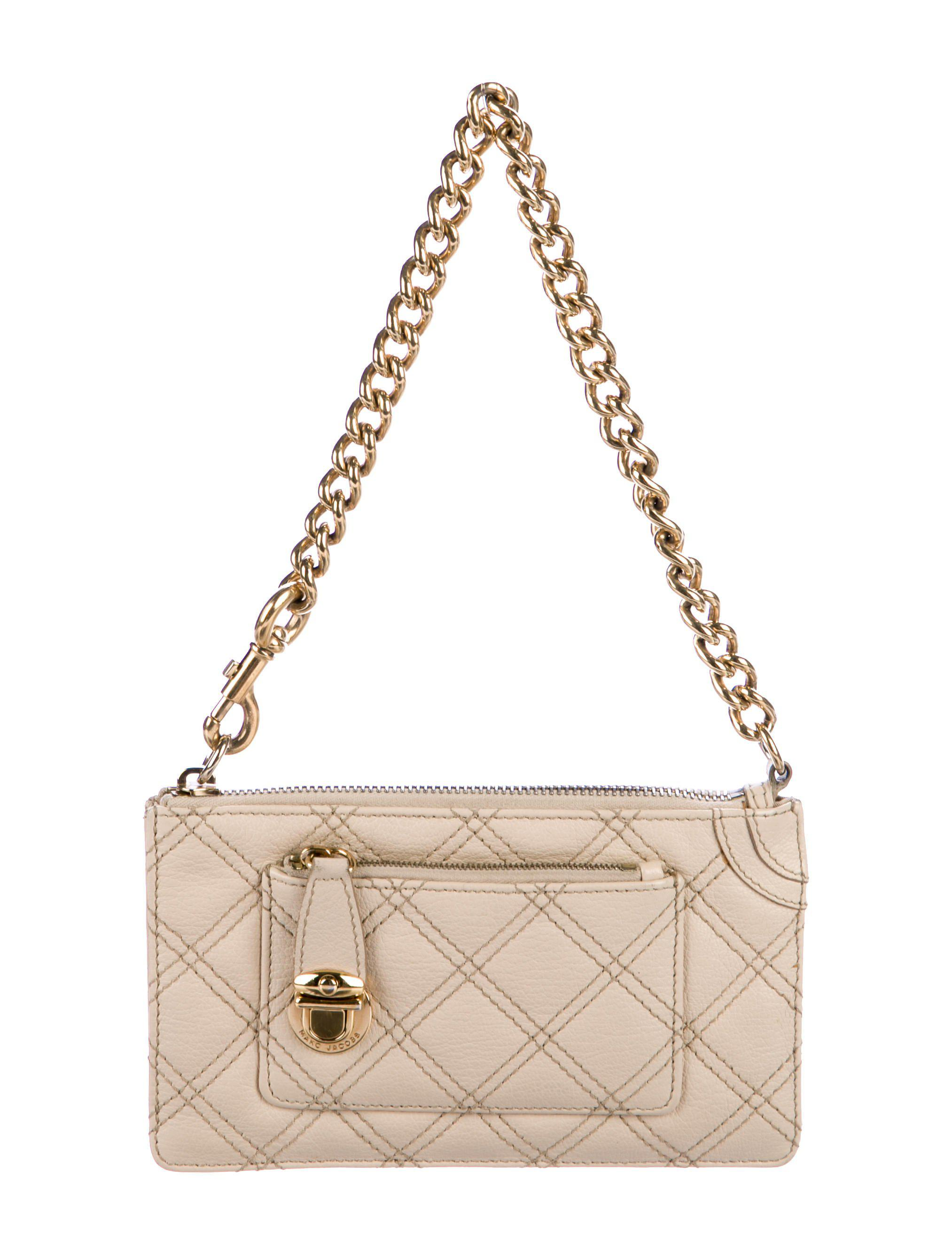 95bd51555d Lyst - Marc Jacobs Quilted Leather Clutch Beige in Metallic - Save 31%