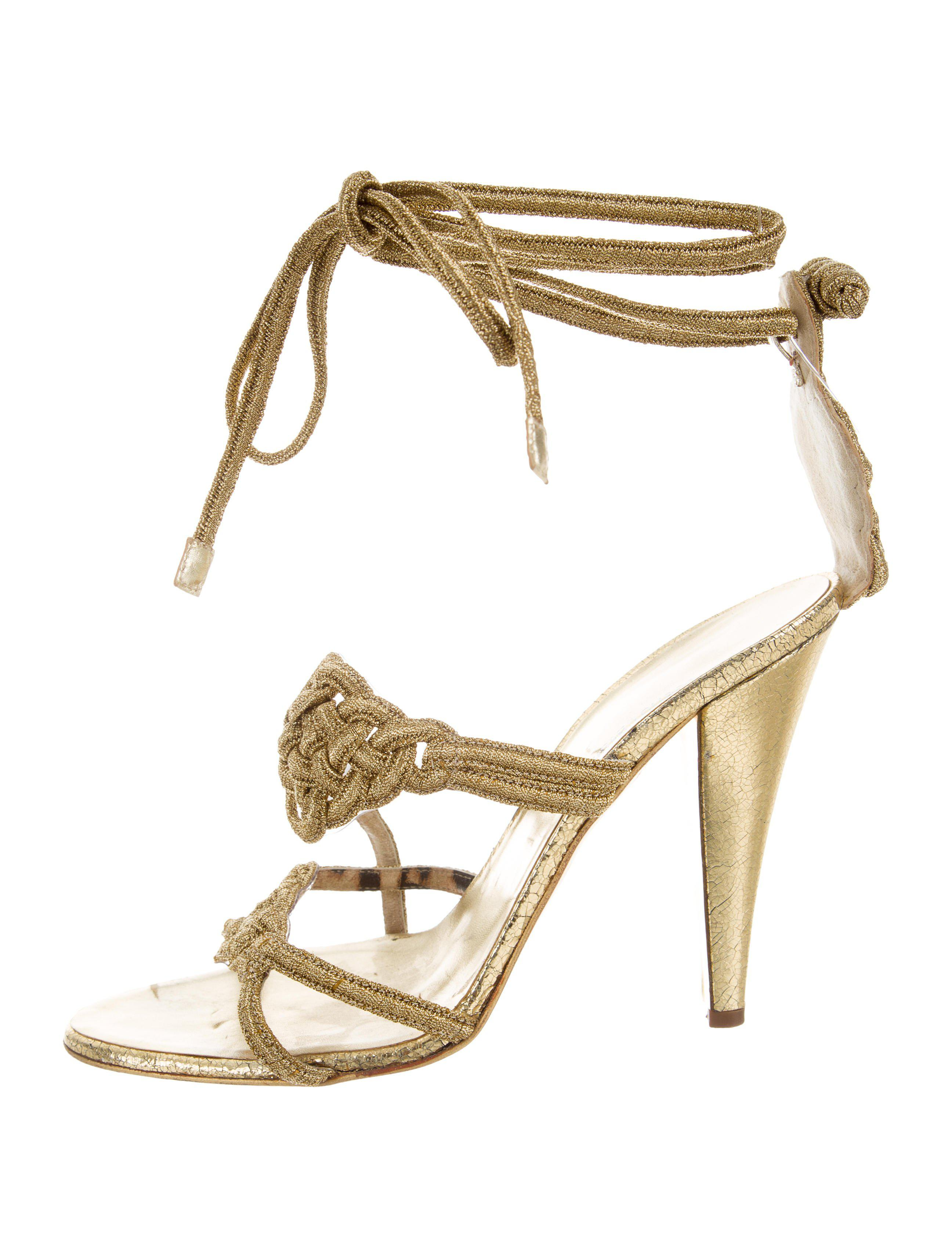 0ce354967c6e Lyst - Roberto Cavalli Woven Lace-up Sandals Gold in Metallic