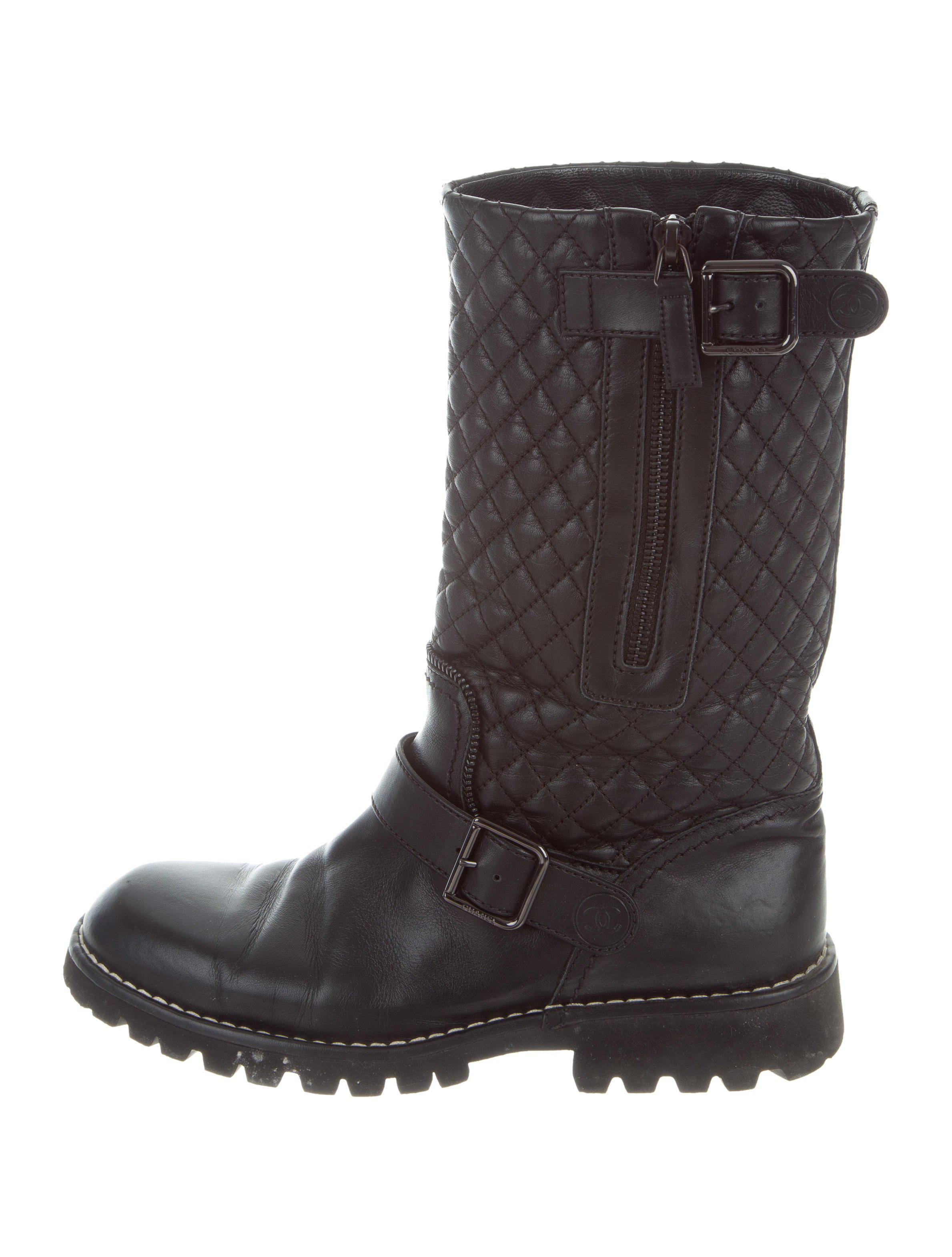 Chanel Quilted Moto Boots In Black Lyst