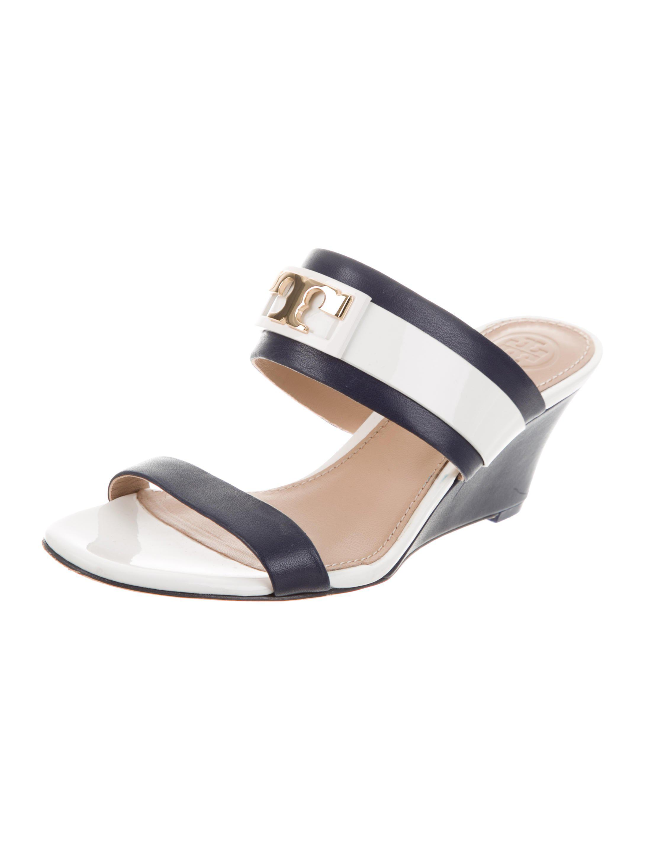 e09c6c665 Tory Burch - Metallic Leather Wedge Mules Navy - Lyst. View fullscreen