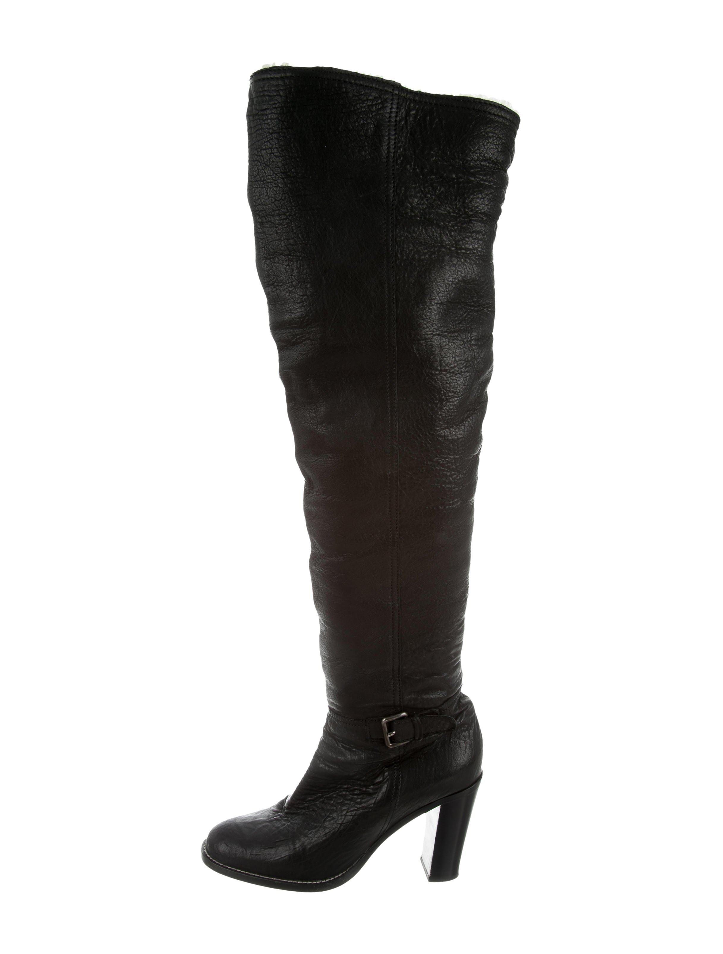 Knee-high leather boots Miu Miu Good Selling Sale Online Cheap Huge Surprise Clearance Manchester Great Sale XuneAt9f