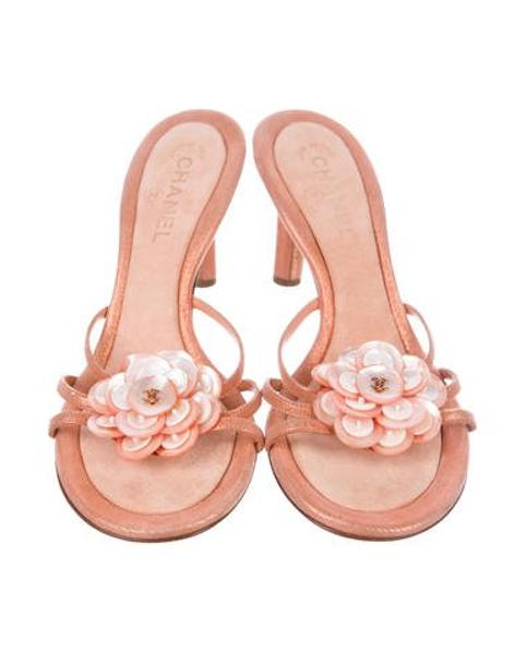 384b12e9568d Chanel - Pink Camellia Slide Sandals Coral - Lyst. View fullscreen