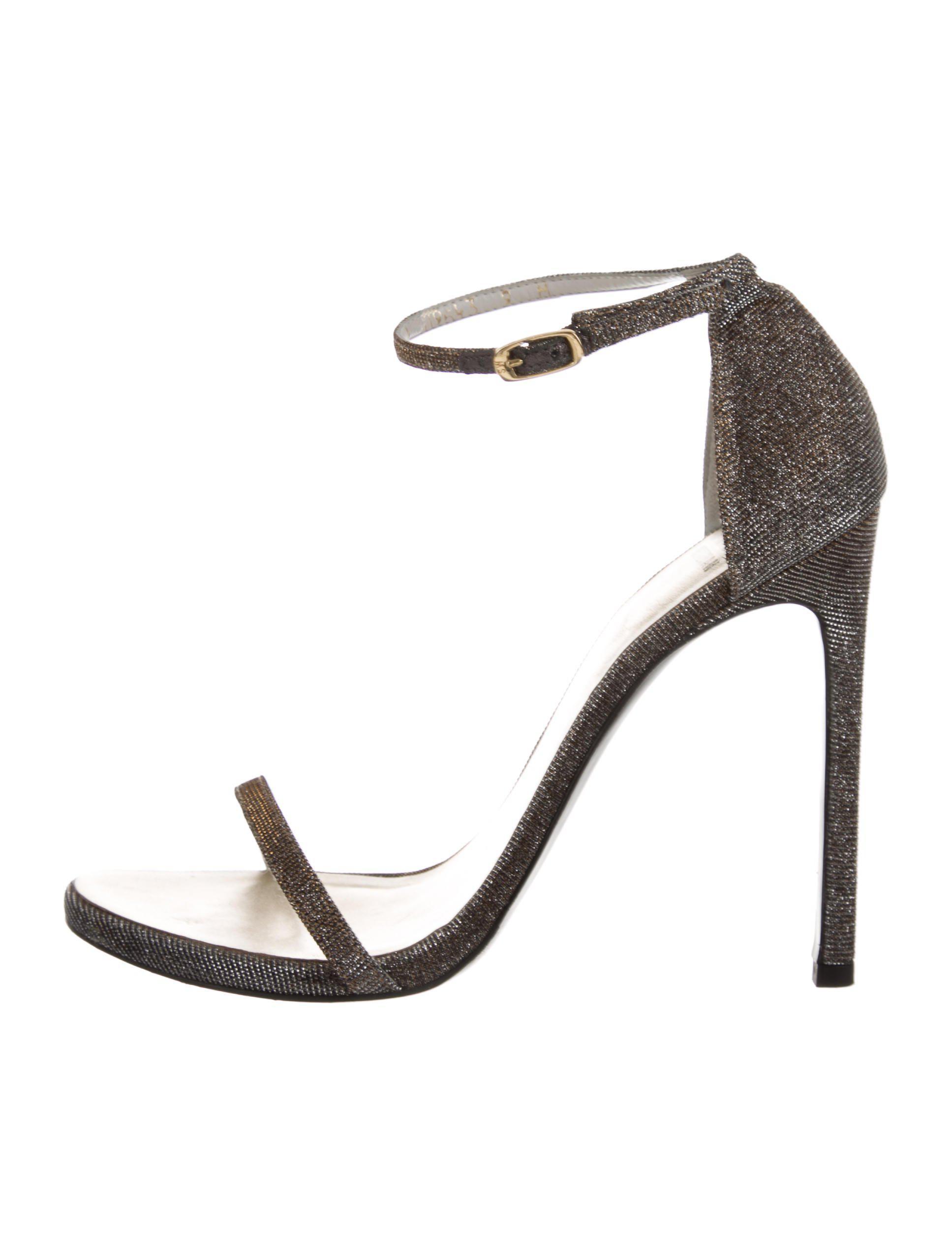 ad2c30ac23b Lyst - Stuart Weitzman Glitter Ankle Strap Sandals Gold in Metallic