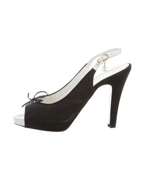 ce16a9cb6d9 Lyst - Chanel Canvas Slingback Sandals in Black