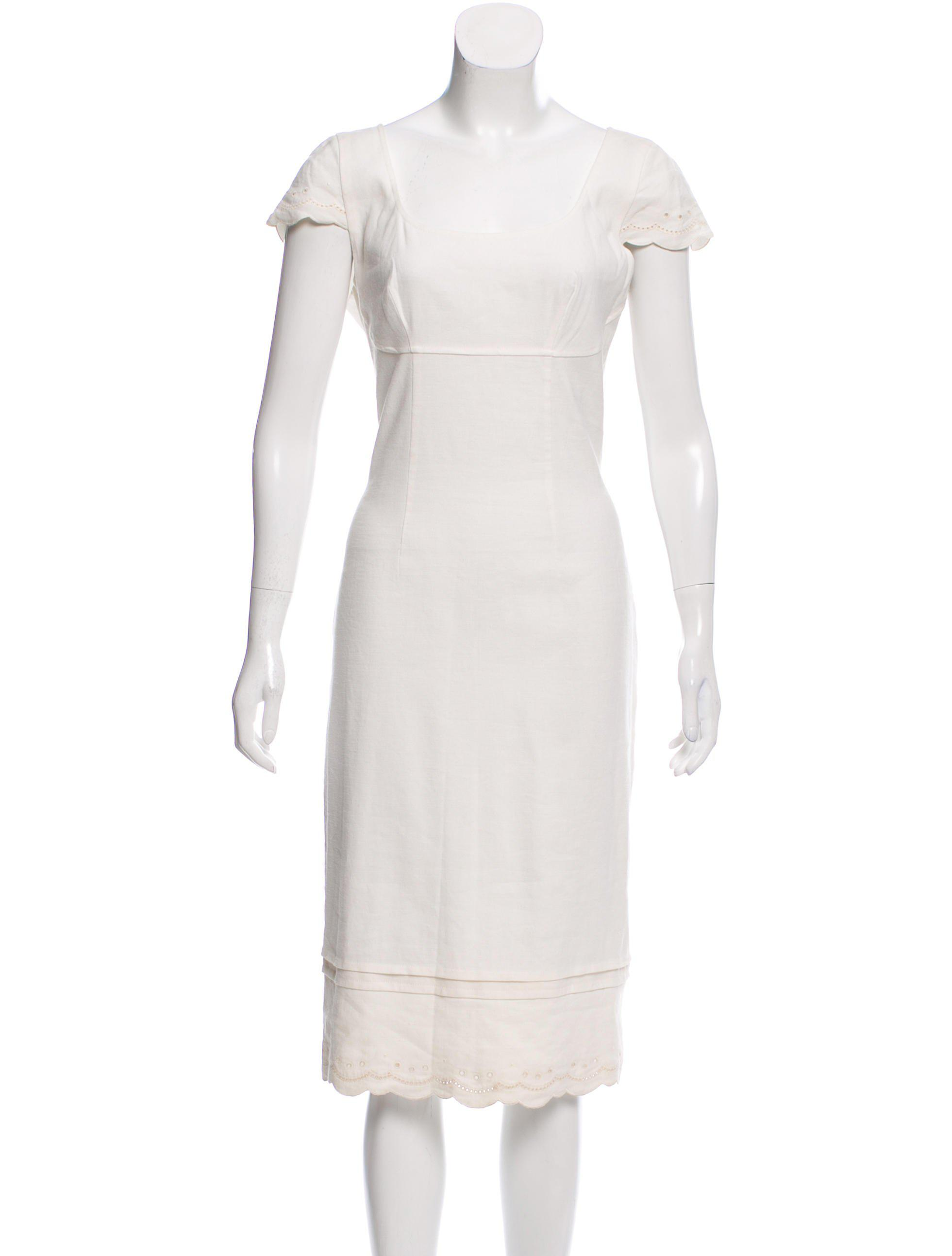 57fd90f331 Lyst - Blumarine Linen-blend Midi Dress W  Tags in White