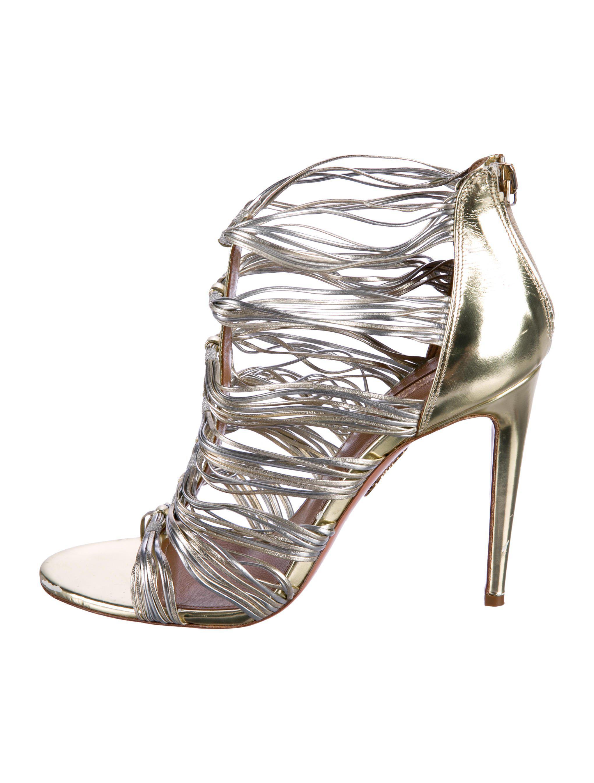 a99f402912c Lyst - Aquazzura Xena Cage Sandals in Metallic