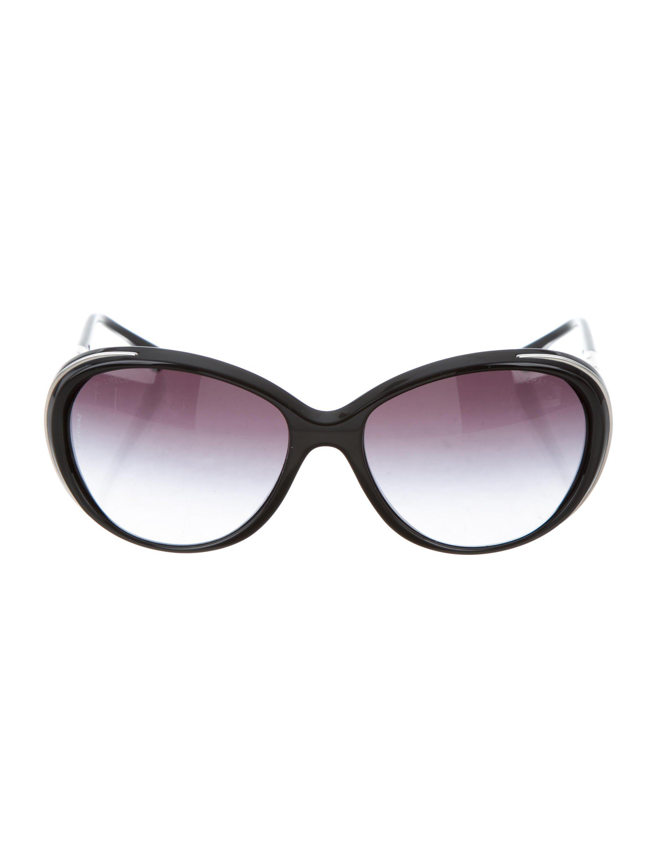 e7ef92ca2f96 Lyst - Chanel Cc Round Sunglasses Black in Metallic