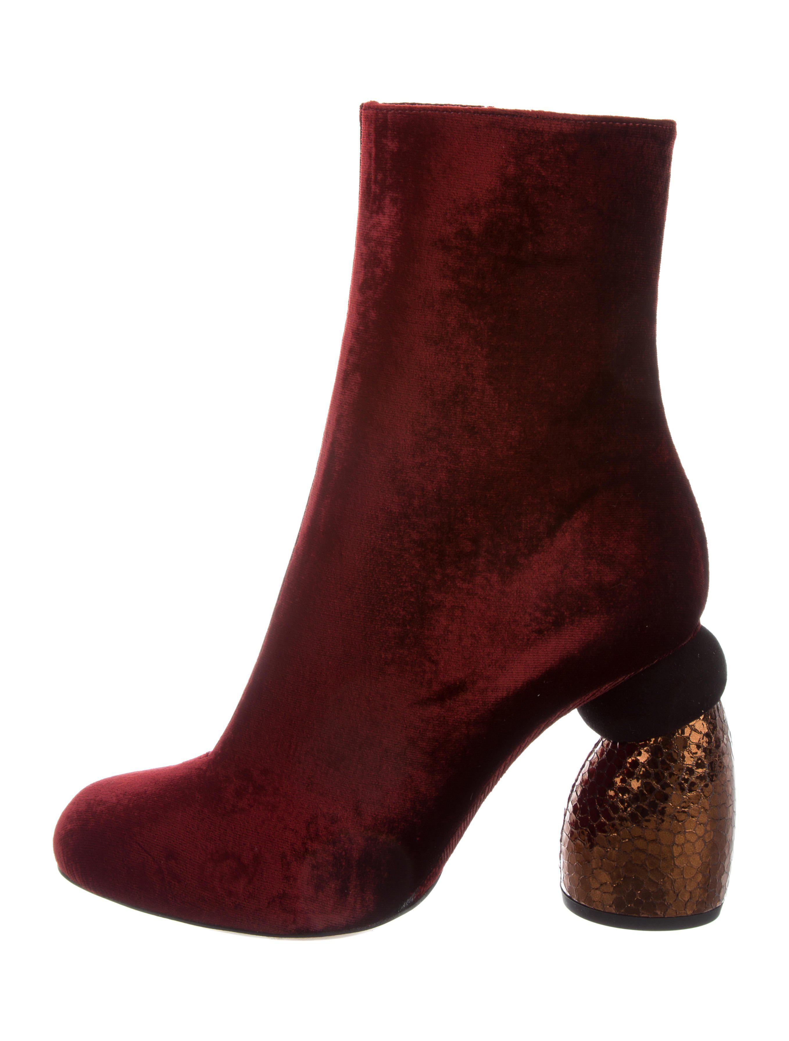 Dries Van Noten Velvet Pointed-Toe Ankle Boots w/ Tags cheap best wholesale free shipping 2014 sale new footaction cheap price lQ7Bmw