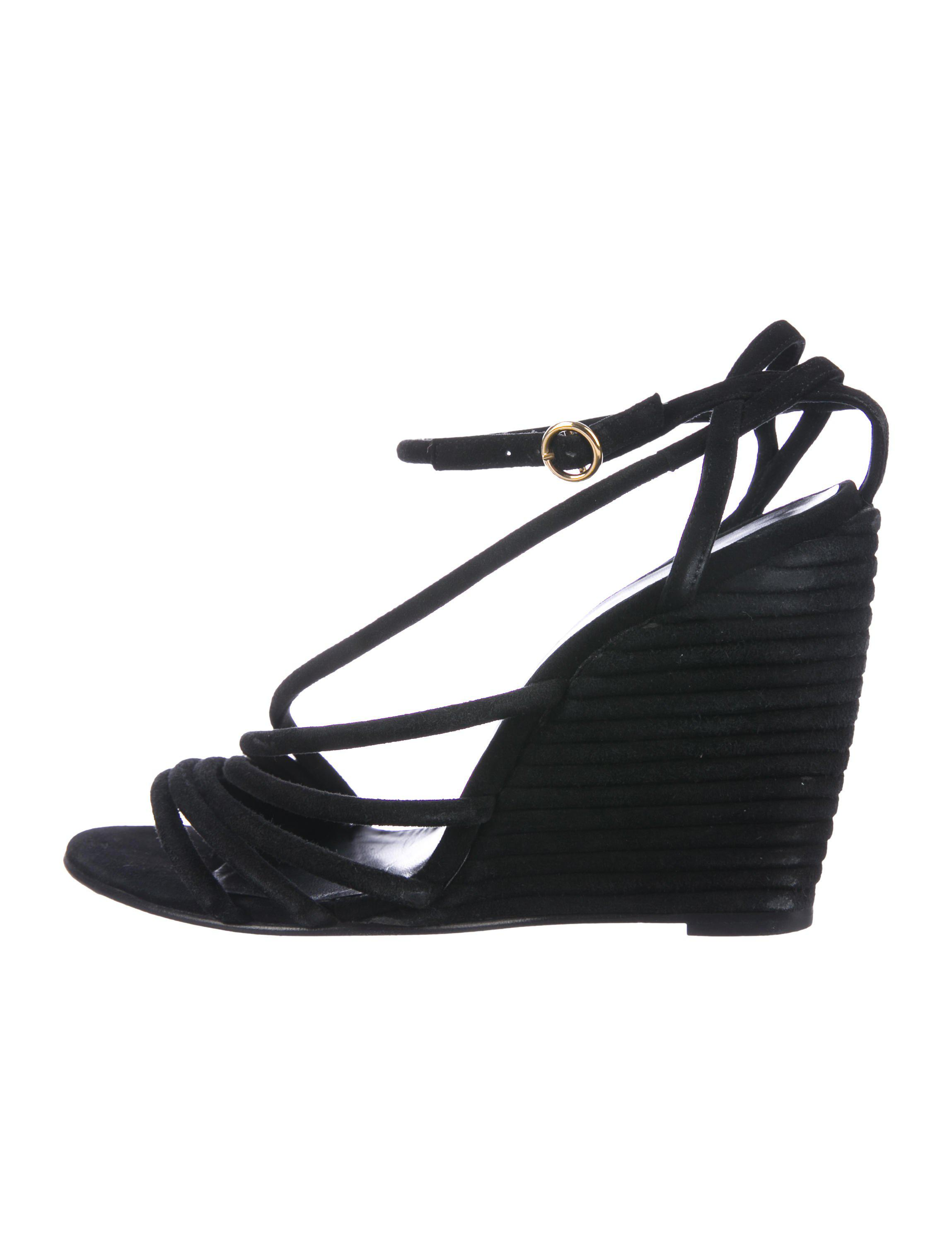 8b21e2d891bed7 Lyst - Pierre Hardy Suede Wedge Sandals in Black