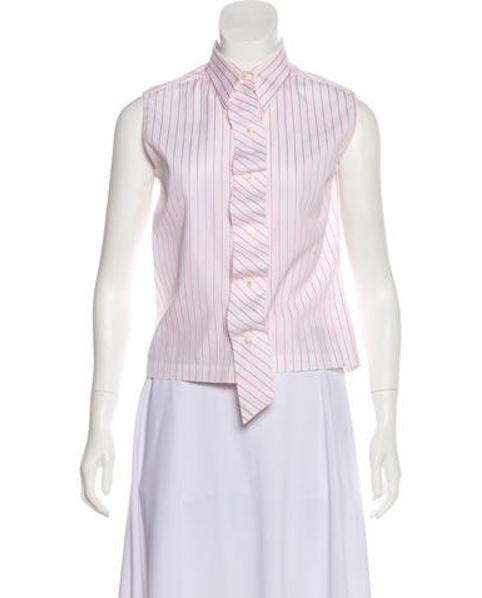 7b0dfe41446 Lyst - Chanel Striped Button-up Top in White