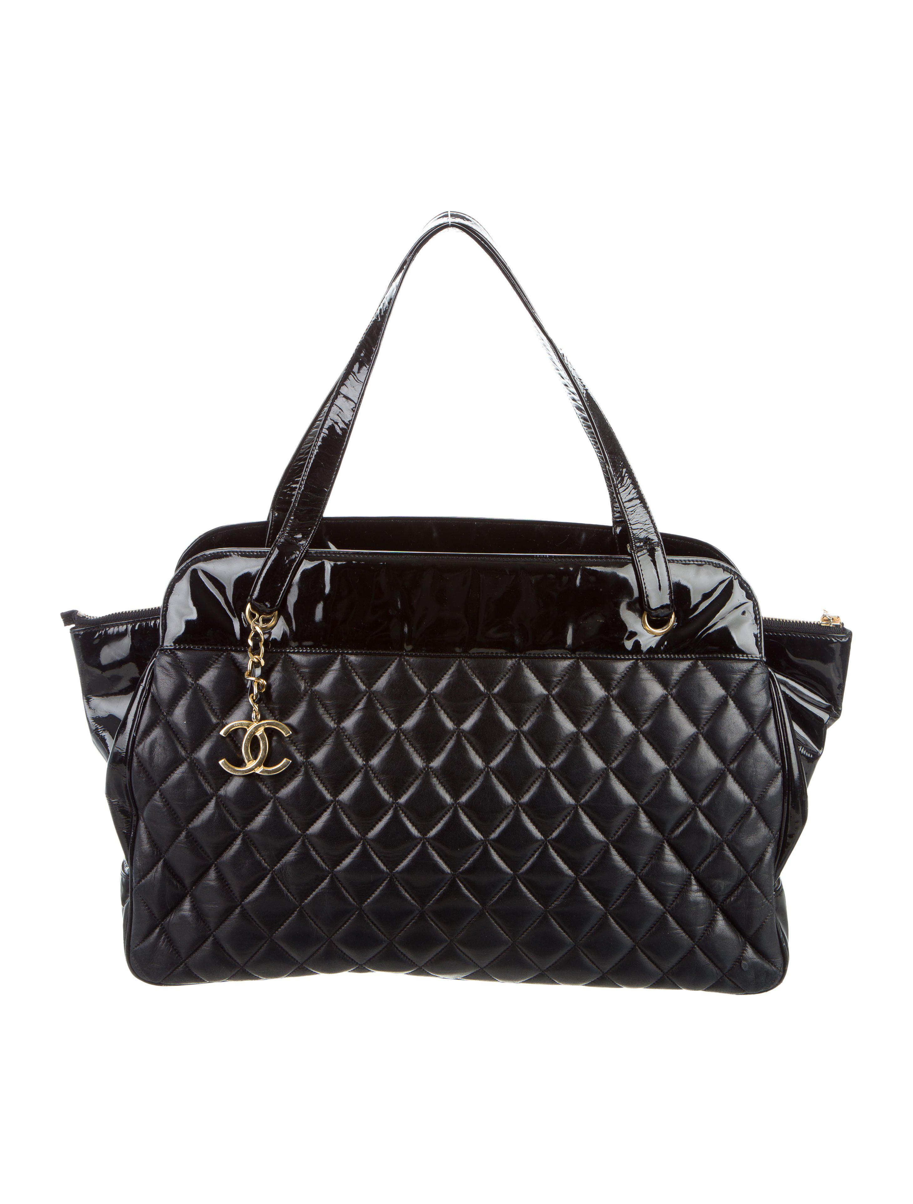 c0ac69ab54c2 Lyst - Chanel Quilted Shopper Tote Black in Metallic