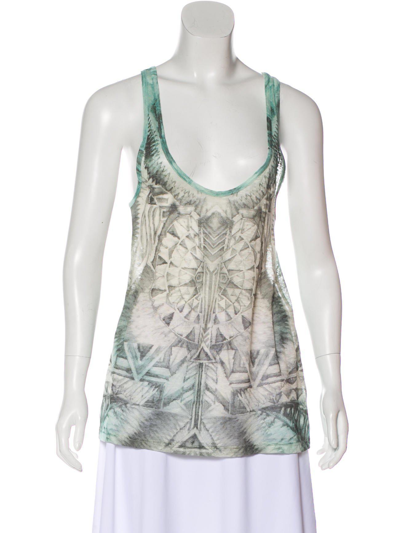 d96d514e25e1e9 Lyst - Balmain Printed Sleeveless Top in Green