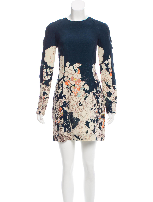 e7964b17158 Lyst - Cacharel Silk-wool Floral Print Dress Navy in Blue
