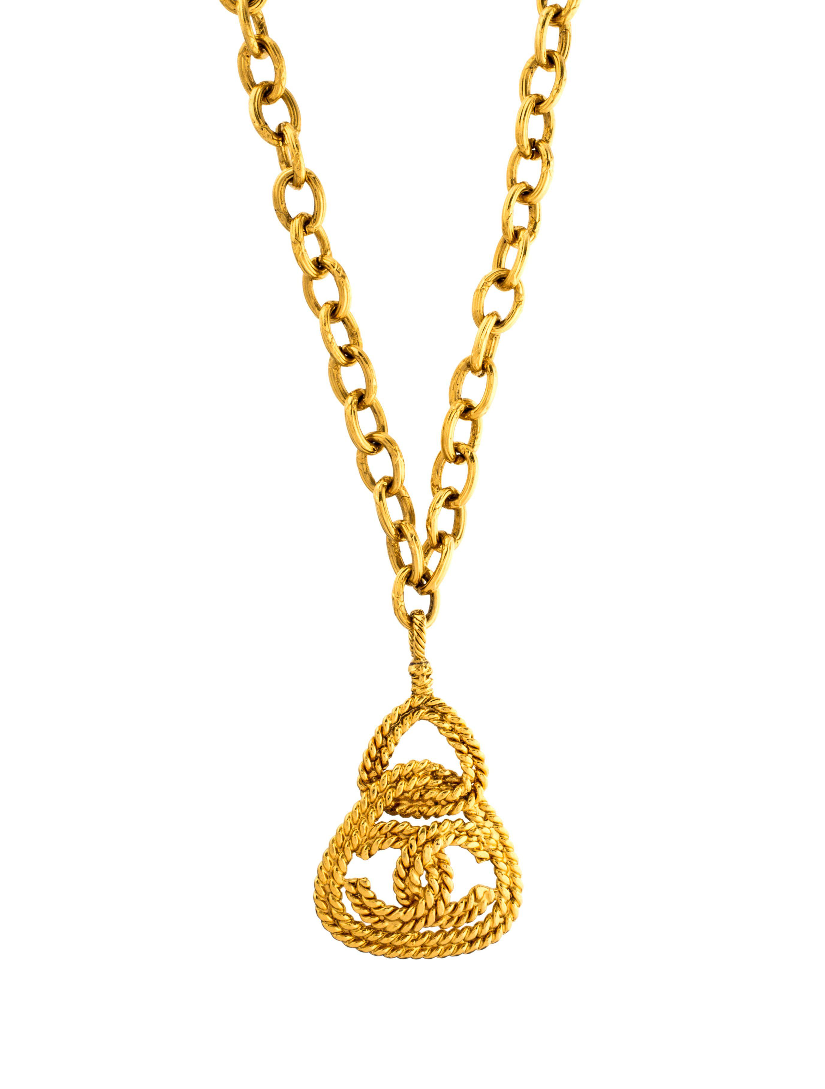 in s gold necklace metallic cc chanel women medallion lyst jewelry pendant