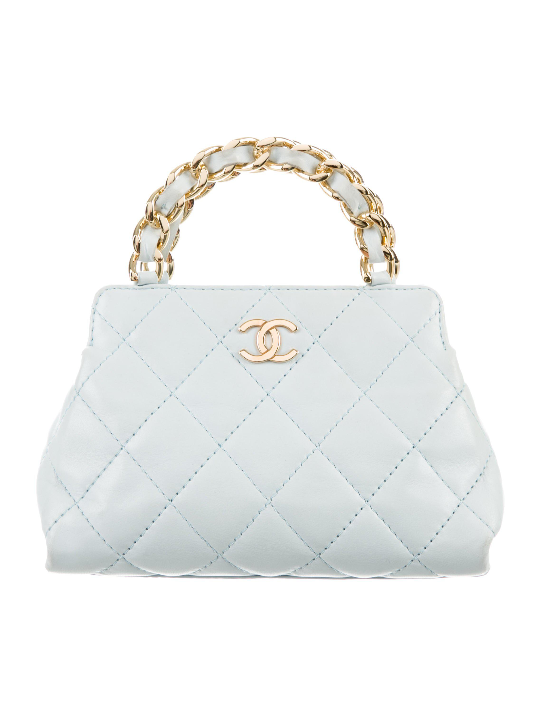 fd13d28fa081 Lyst - Chanel Mini Lambskin Evening Bag Blue in Metallic