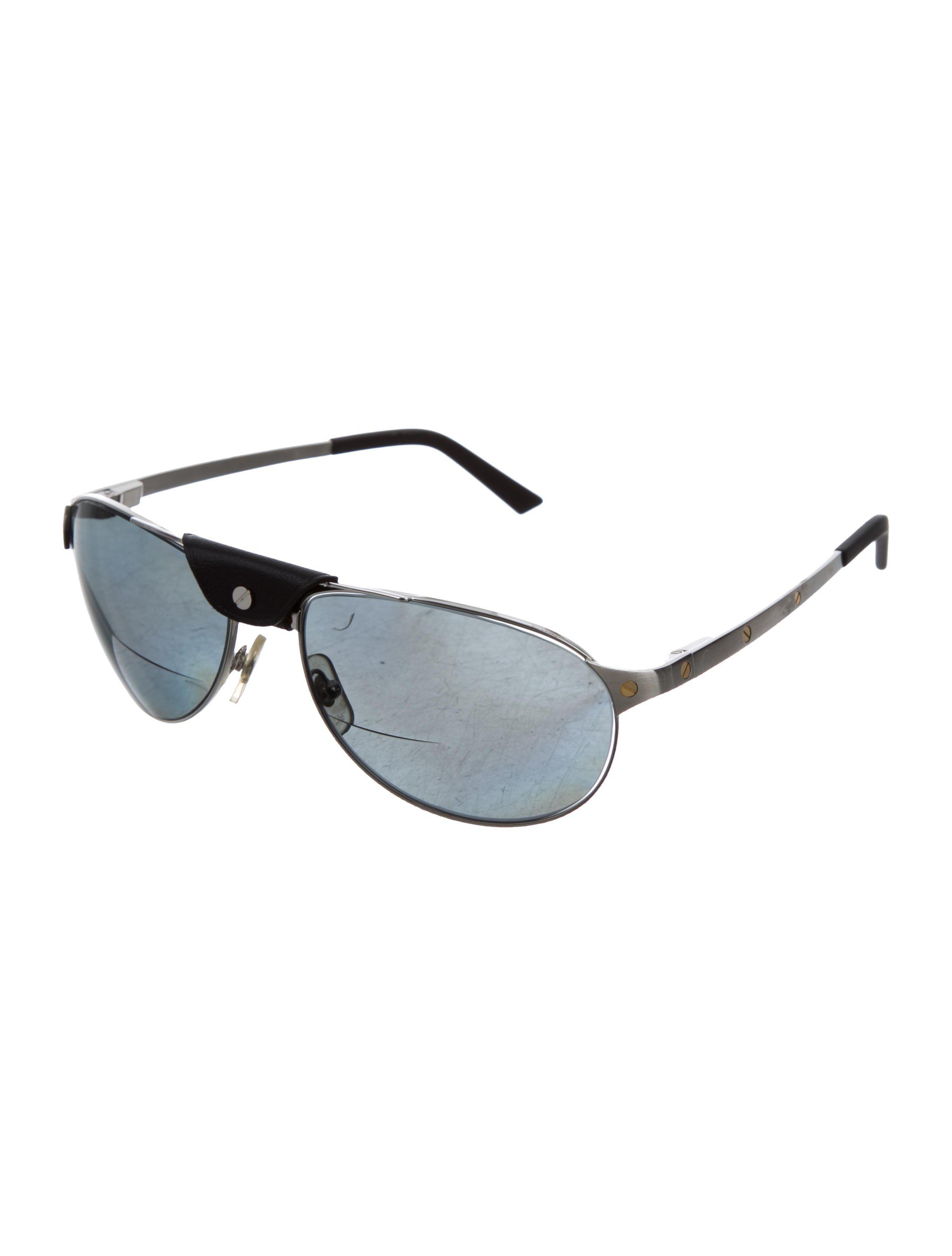 f04fcfc8d921 Lyst - Cartier Santos Dumont Polarized Aviator Sunglasses Silver in ...