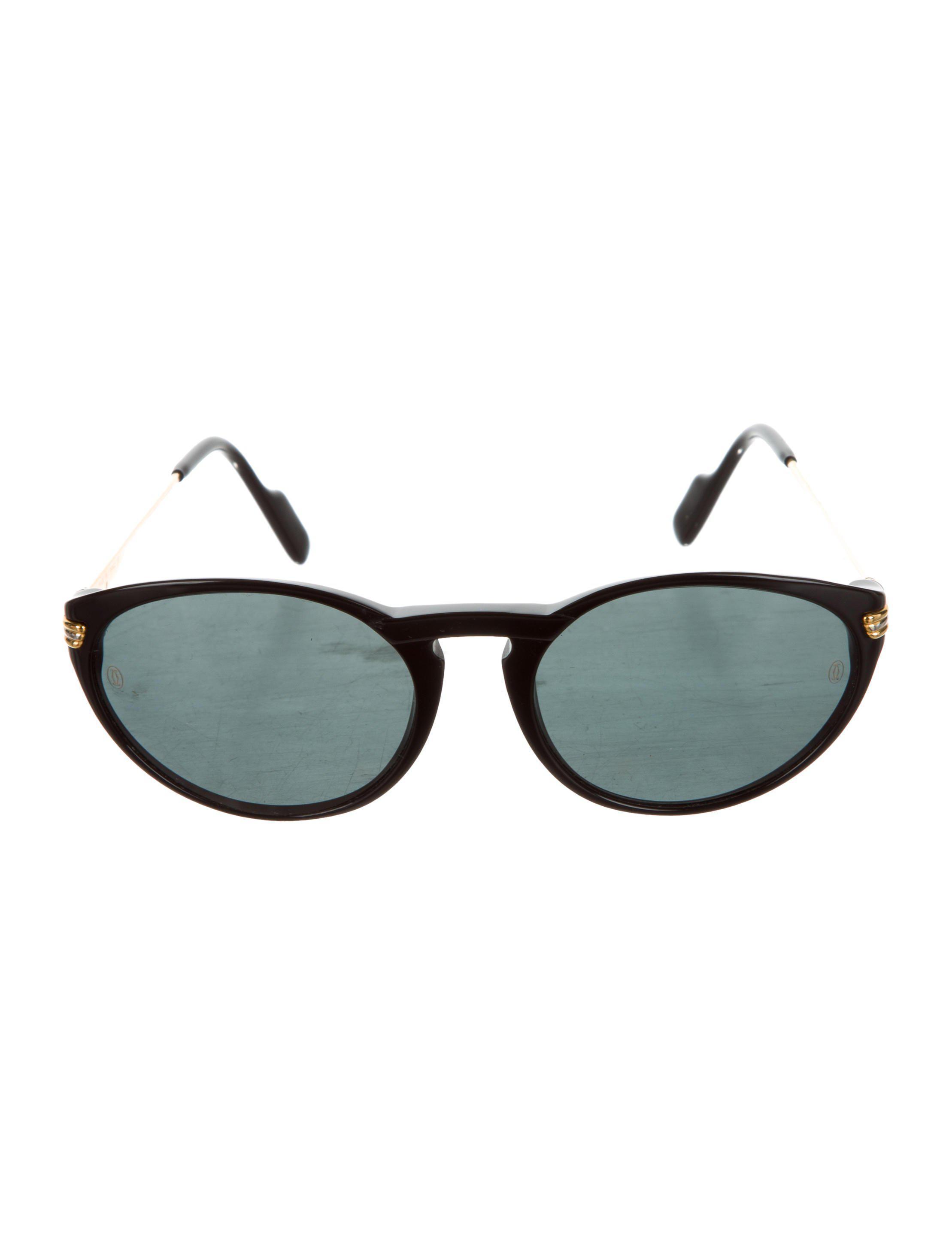 c0d75d28e59 Lyst - Cartier Tinted Round Sunglasses Black in Metallic