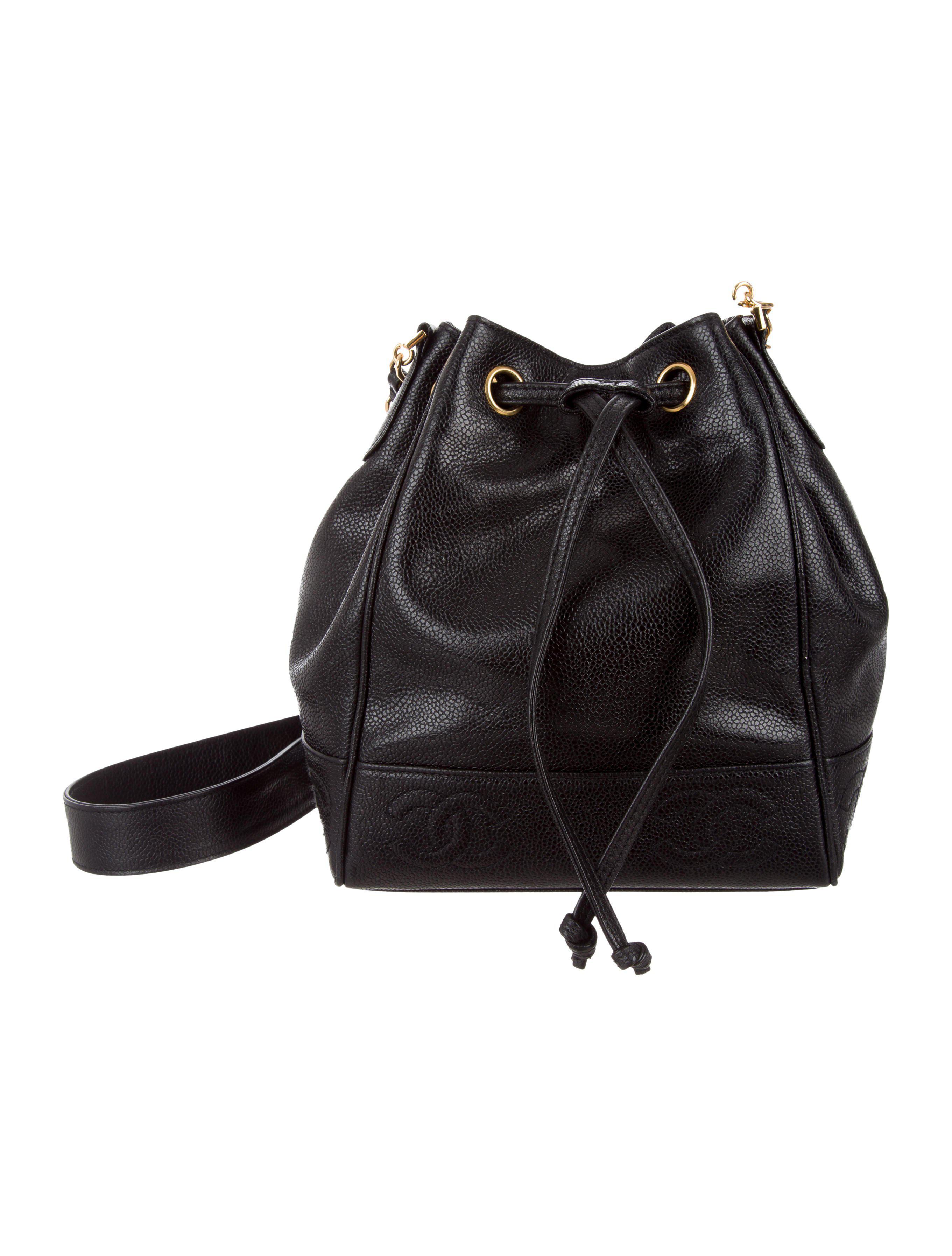 Lyst - Chanel Vintage Drawstring Shoulder Bag Black in Metallic 04aceab5c1878