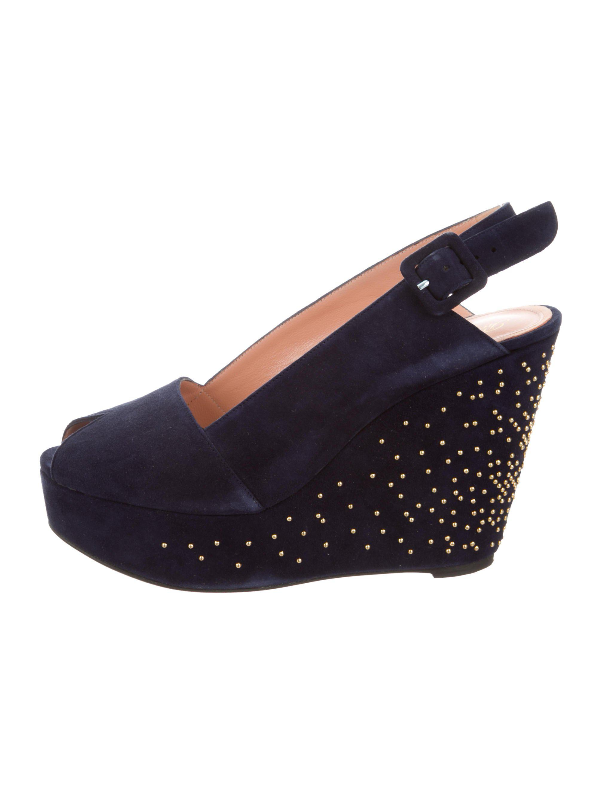 discount purchase discount amazon Robert Clergerie Embellished Slingback Wedges purchase sale online low price fee shipping cheap price m95JPur6