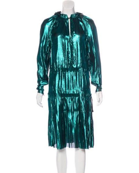 6448286d79ab Lyst - Lanvin Long Sleeve Iridescent Dress in Blue