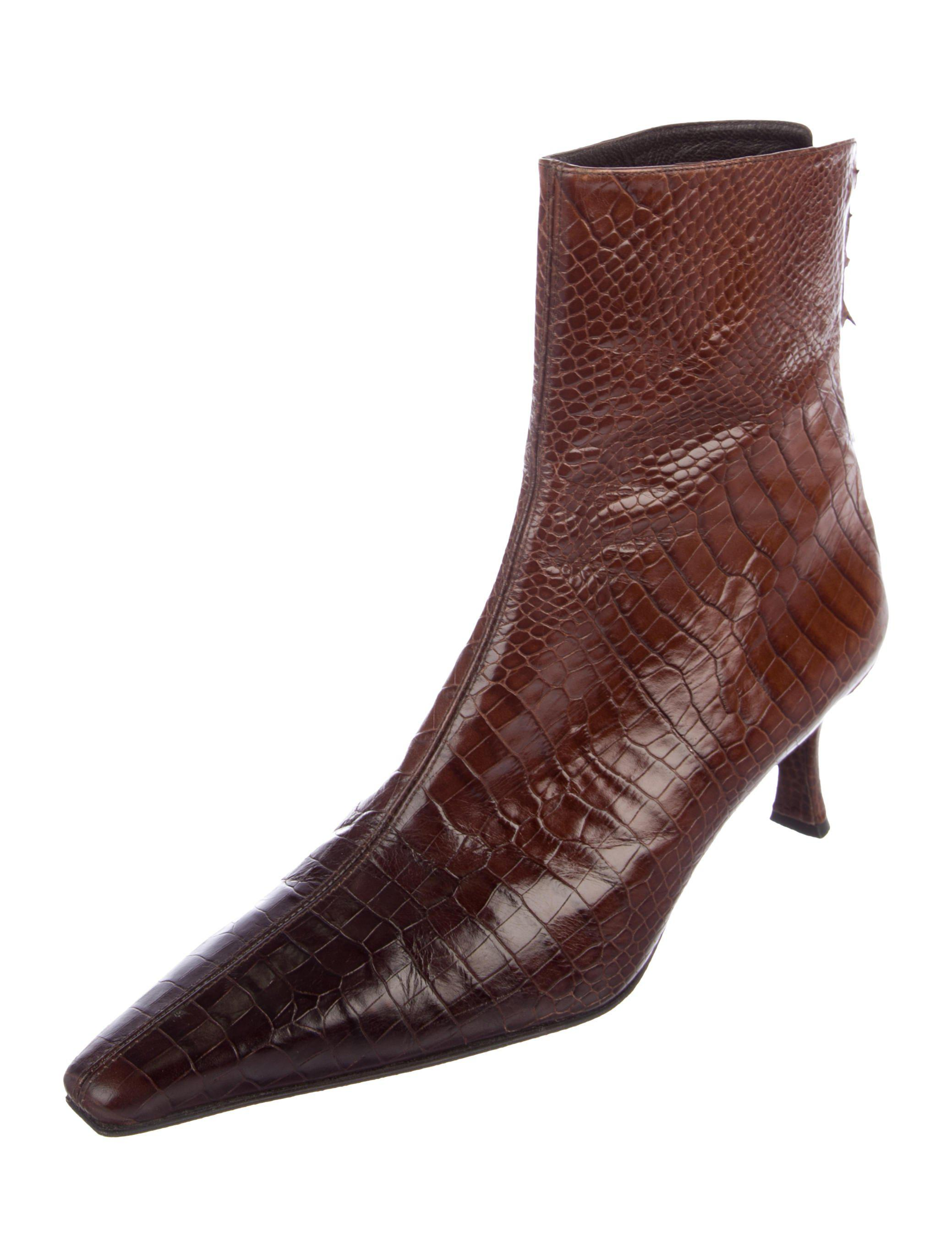 Stuart Weitzman Crocodiles Square-Toe Boots sale lowest price perfect cheap price buy cheap amazing price wG8tad7hCf