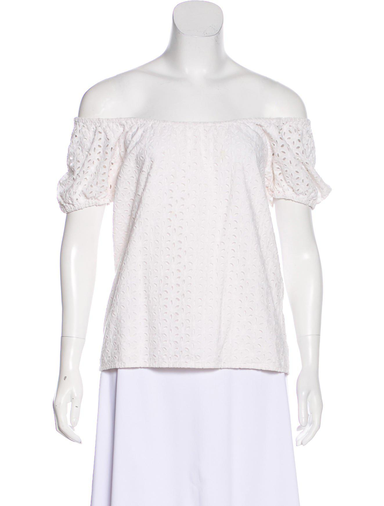 a4e9cfe213aa1d Lyst - Tibi Eyelet Off-the-shoulder Top in White