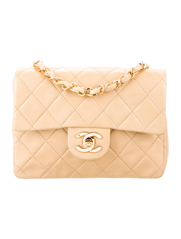 034fcc52866edd Lyst - Chanel Classic Mini Square Flap Bag Beige in Metallic