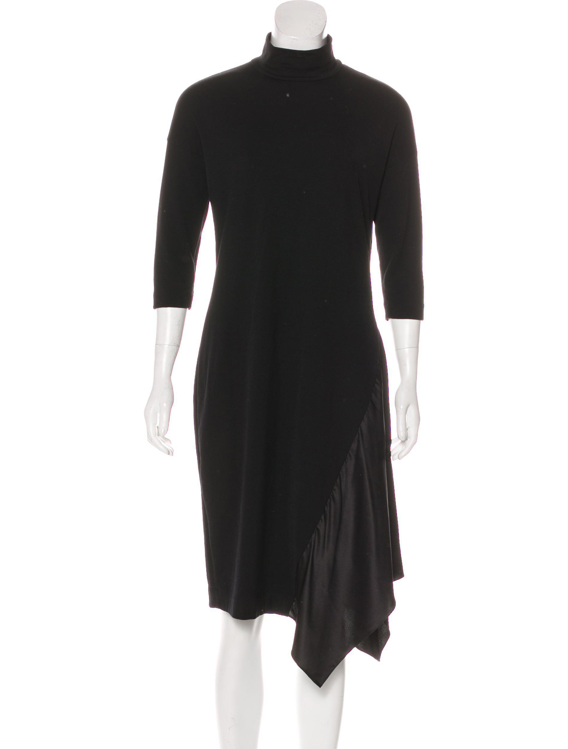 35c0edd27677c Lyst - Brunello Cucinelli Long Sleeve Midi Dress in Black