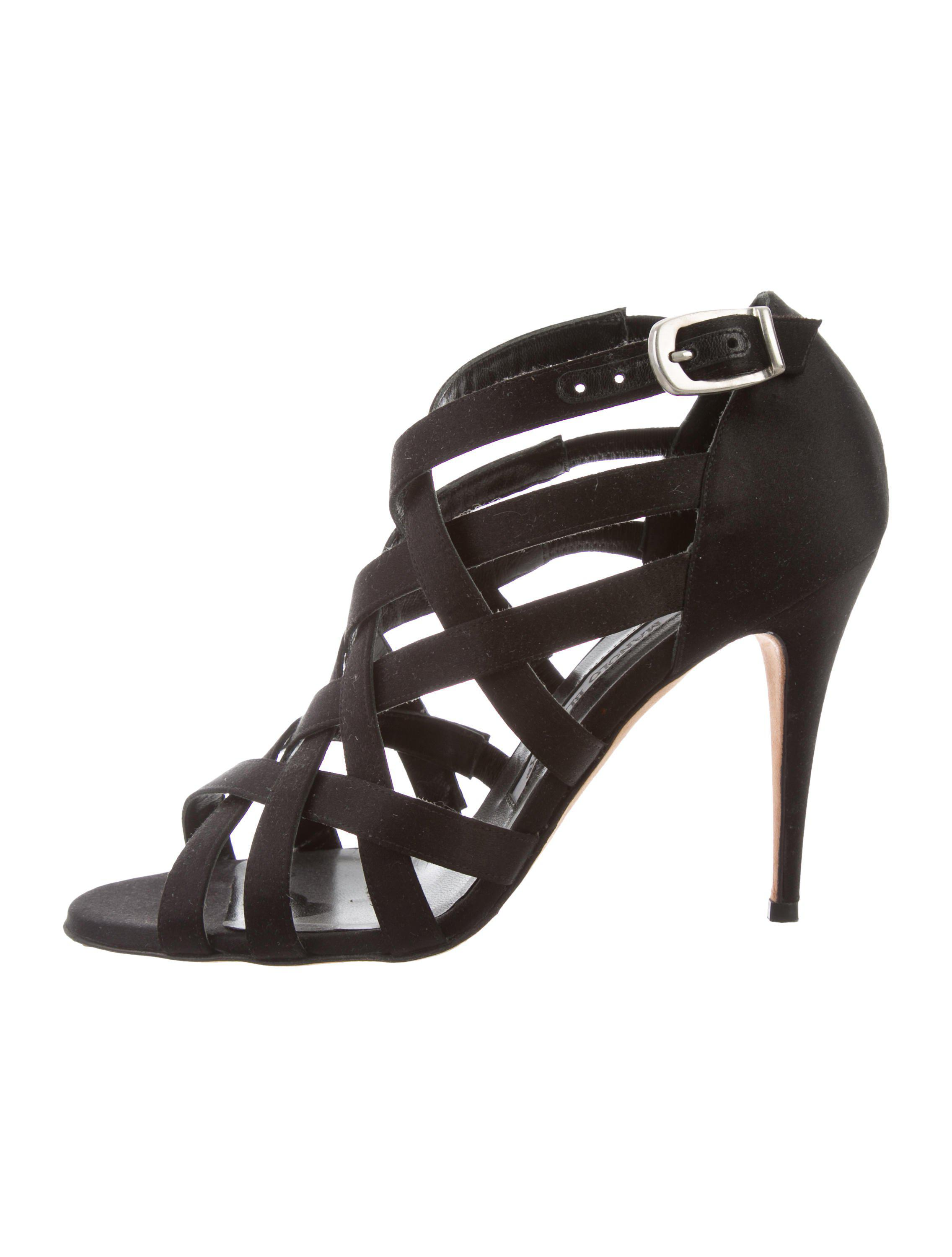 Manolo Blahnik Satin Caged Pumps authentic for sale choice cheap price discount best sale with paypal buy cheap geniue stockist NMiP7EBW