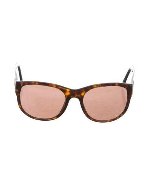 f976c586c30 Lyst - Chanel Tortoiseshell Cc Sunglasses Brown in Metallic