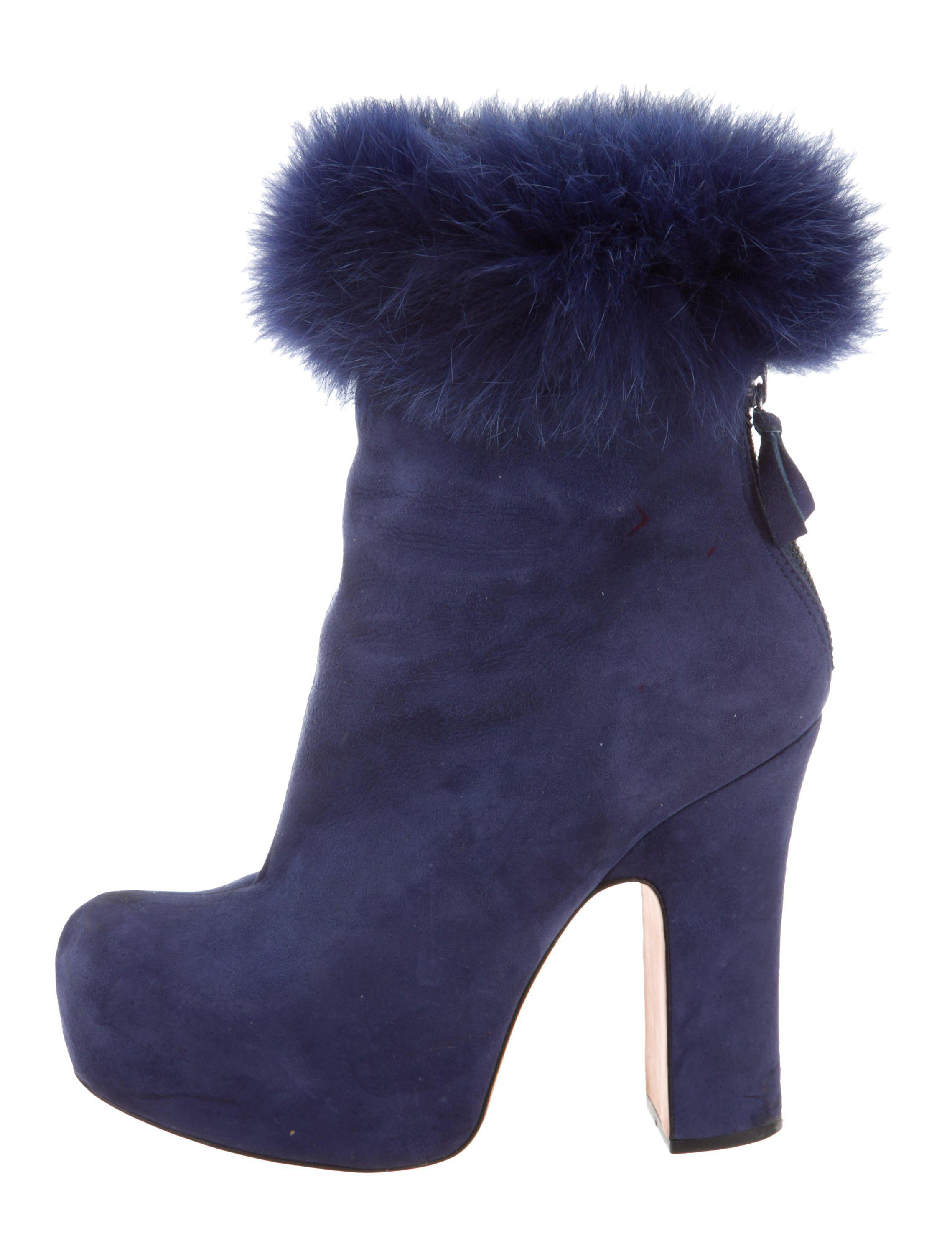 pictures sale online marketable cheap price Alice + Olivia Fur-Trimmed Suede Ankle Boots Manchester cheap price iFc2tkN