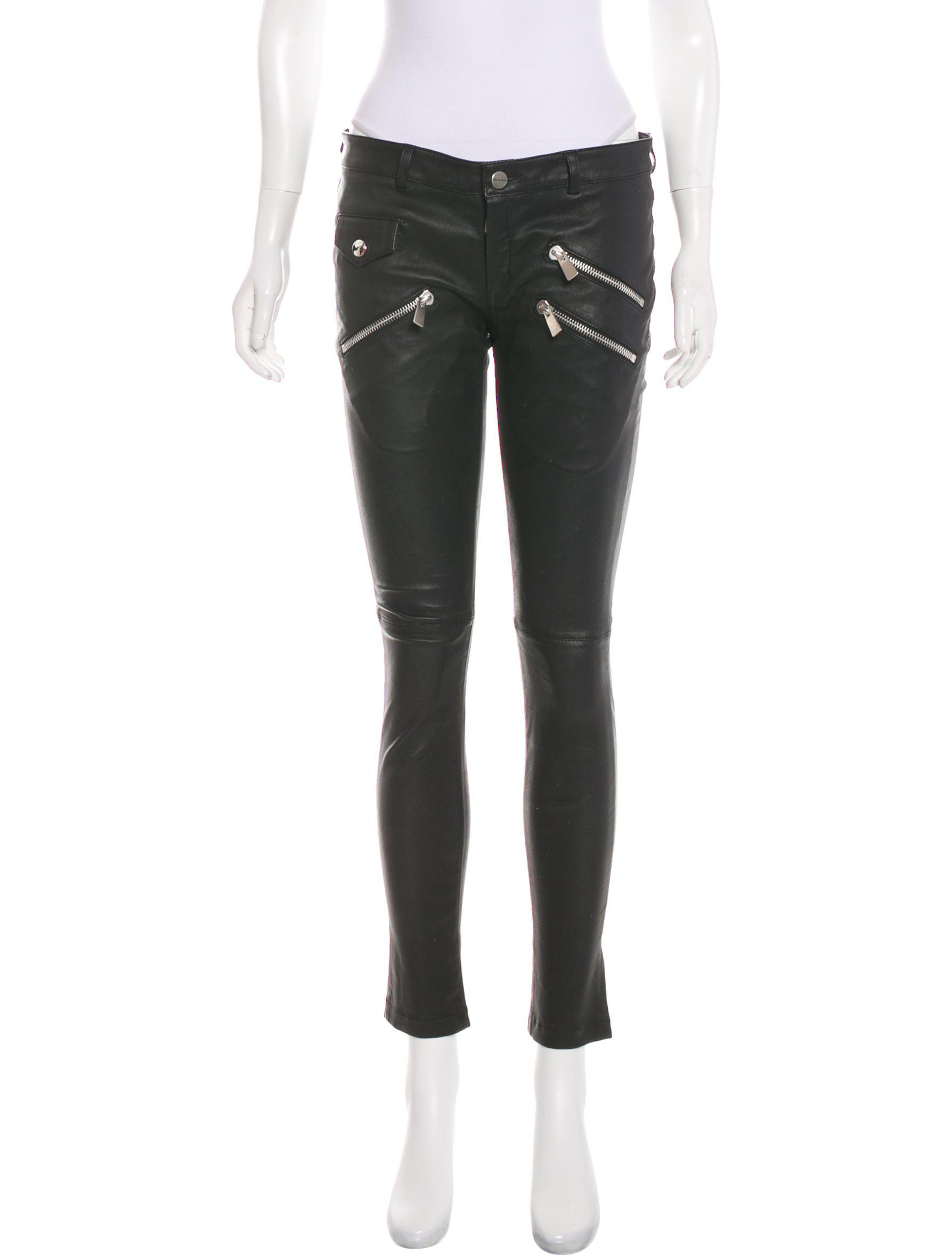 726aefa3d9dffe Lyst - Anine Bing Mid-rise Leather Pants in Black