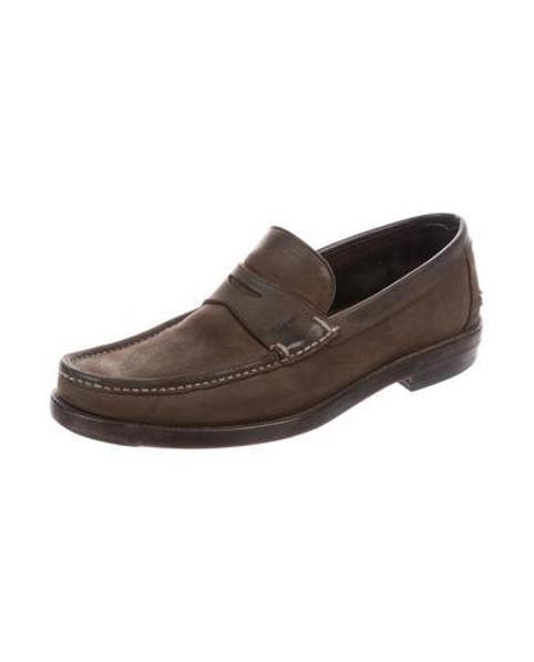 45a9da8b694 Lyst - Ferragamo Suede Penny Loafers in Brown for Men