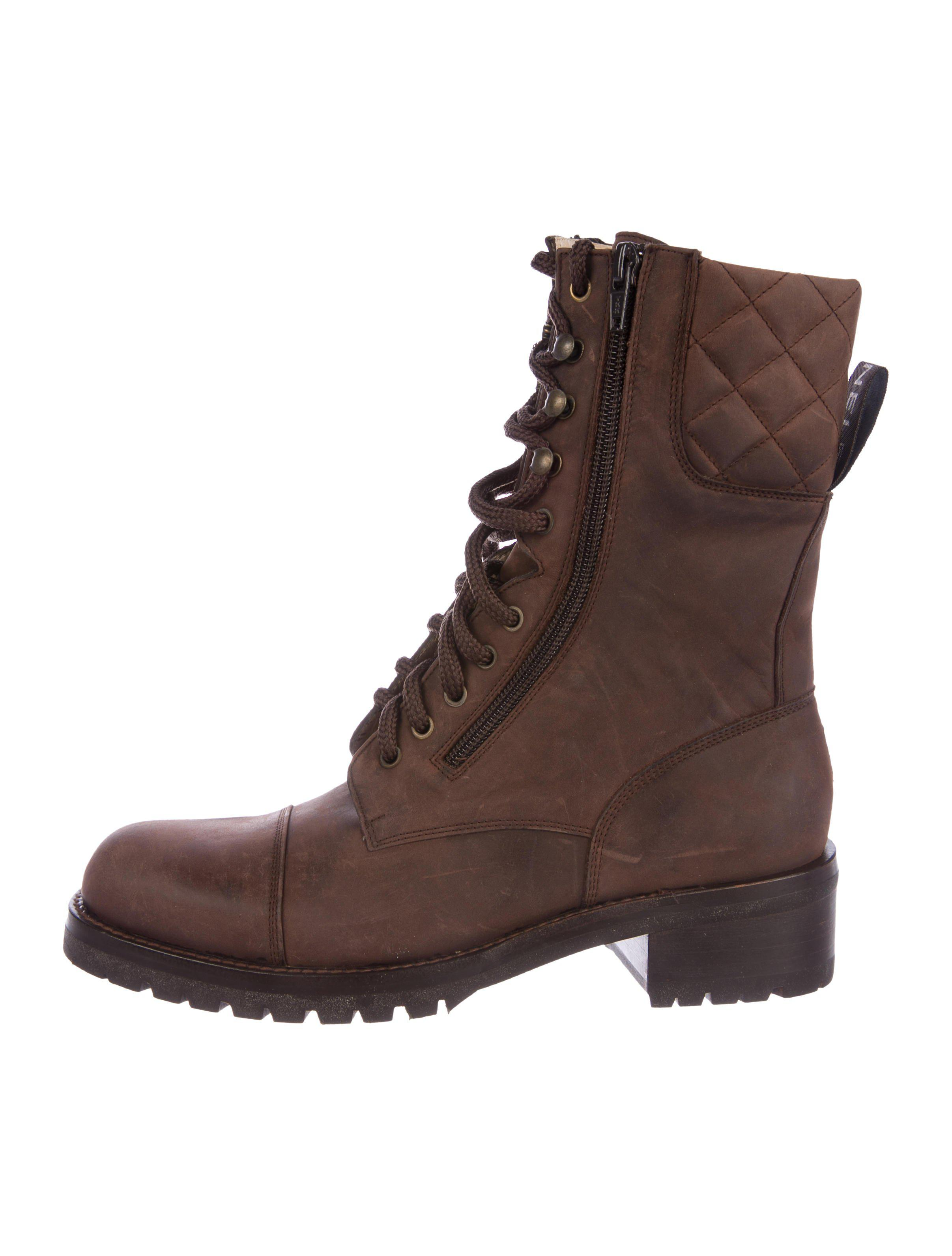 d5ce9c0dab4 Lyst - Chanel Cc Suede Combat Booties W  Tags in Brown for Men