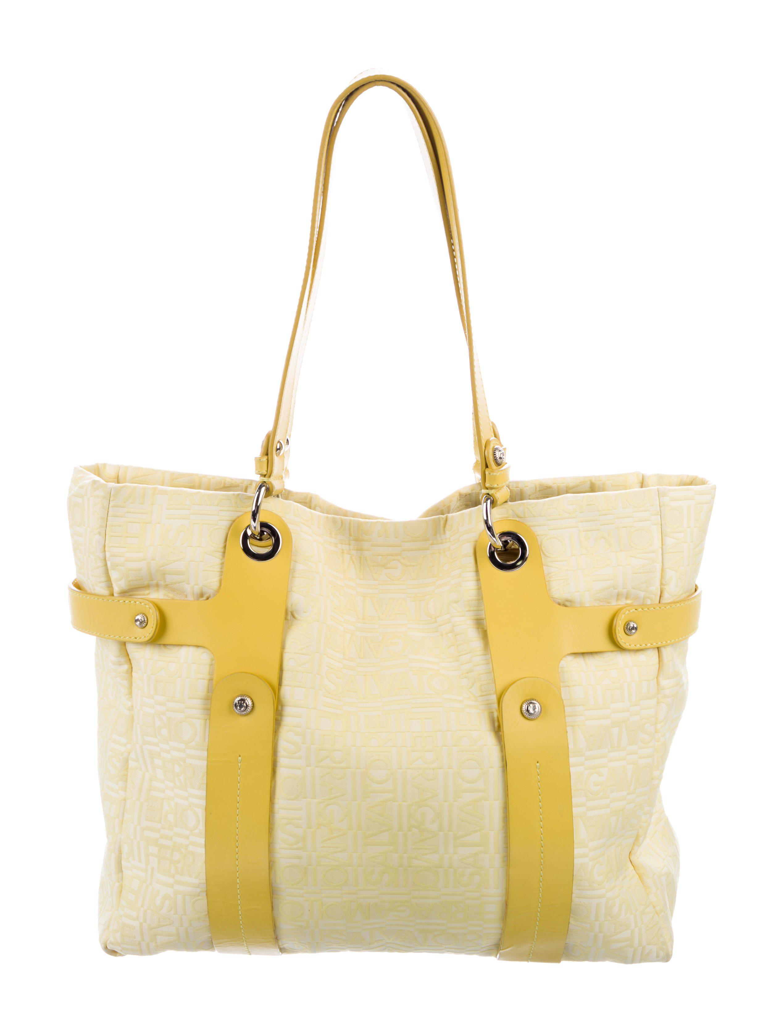 e1379dac4b8 Lyst - Ferragamo Leather-trimmed Monogram Tote Yellow in Metallic