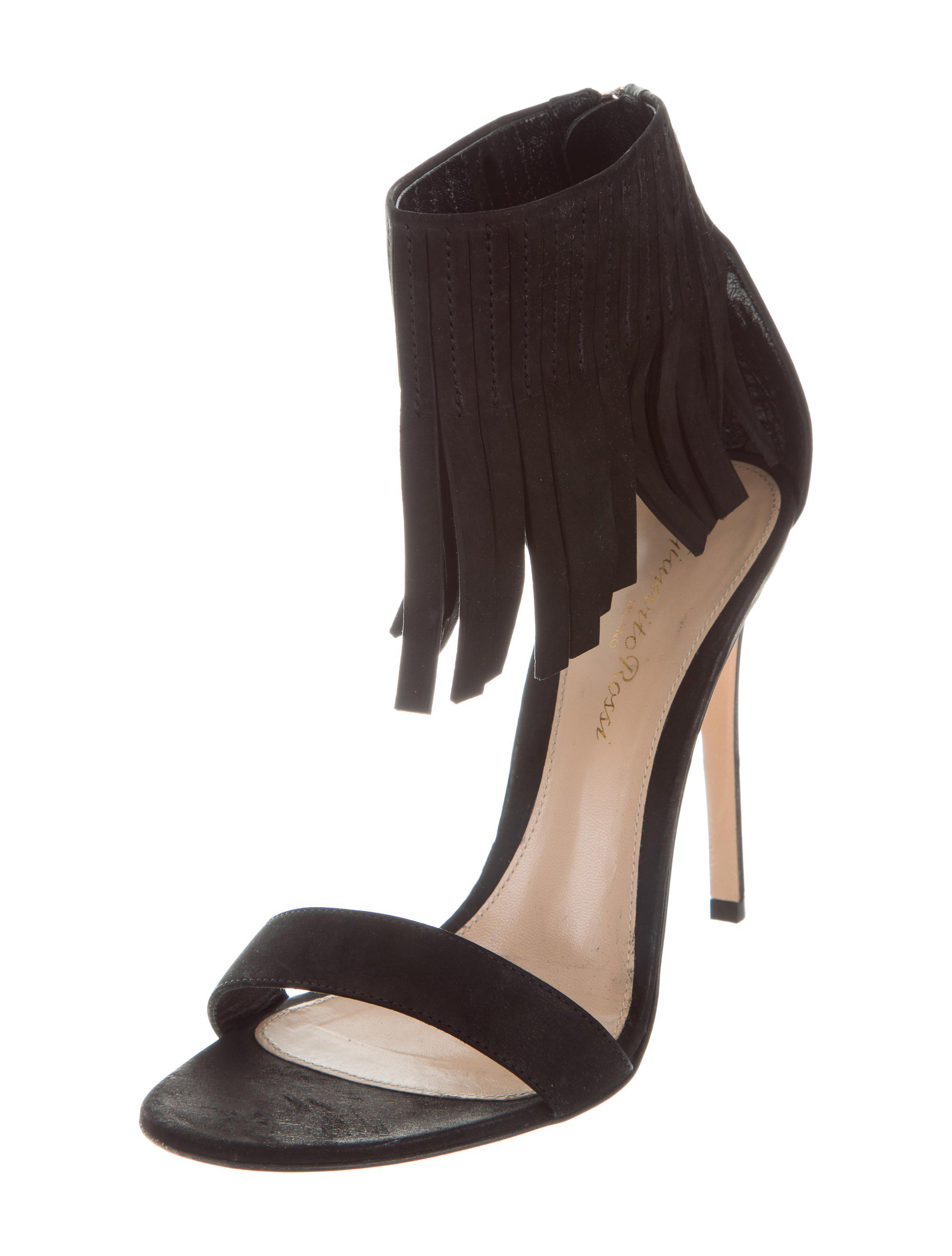 outlet low shipping fee free shipping cheapest price Gianvito Rossi Nubuck Fringe Sandals BCUfhis