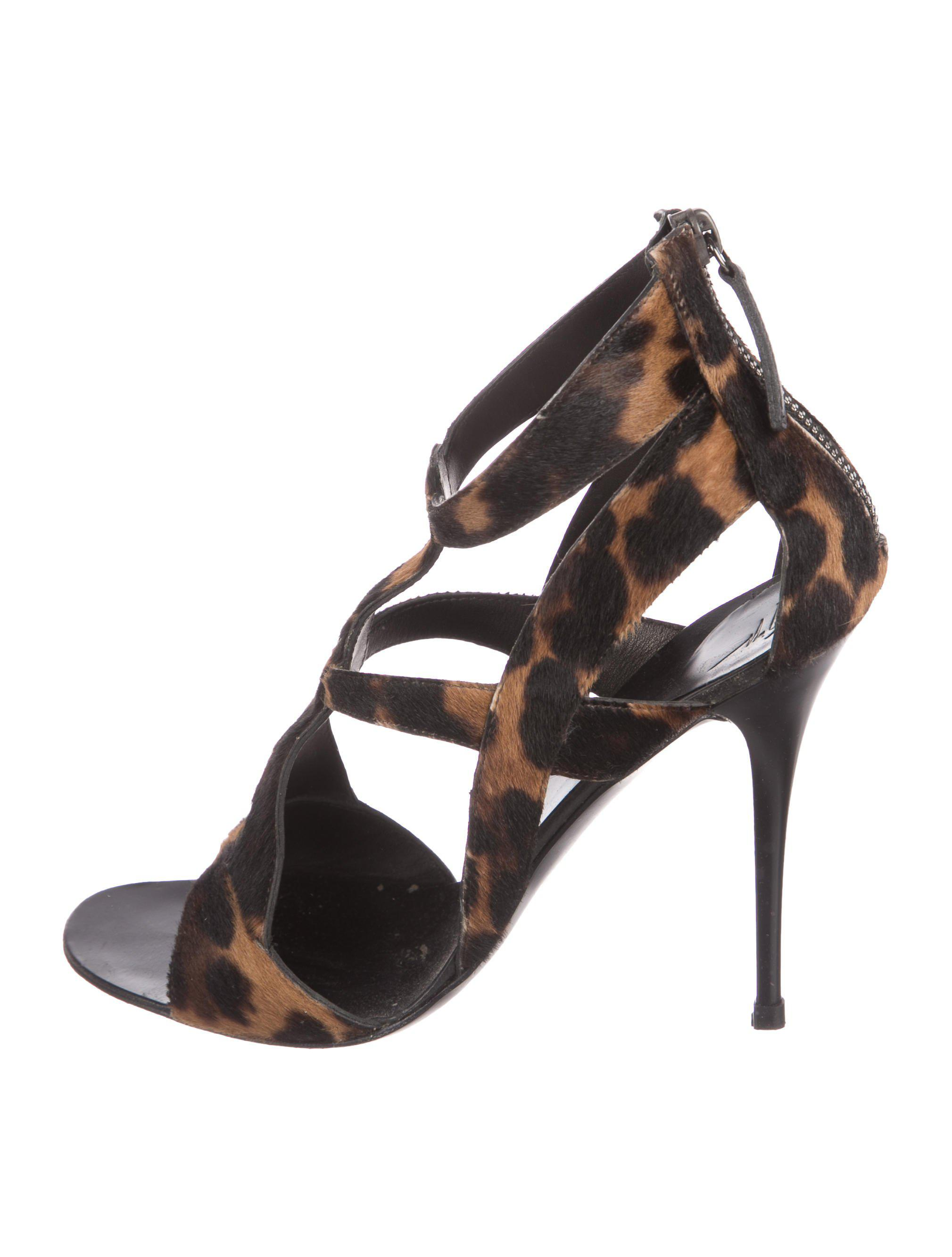 Giuseppe Zanotti Ponyhair Caged Sandals free shipping store clearance Manchester SEj3FYb