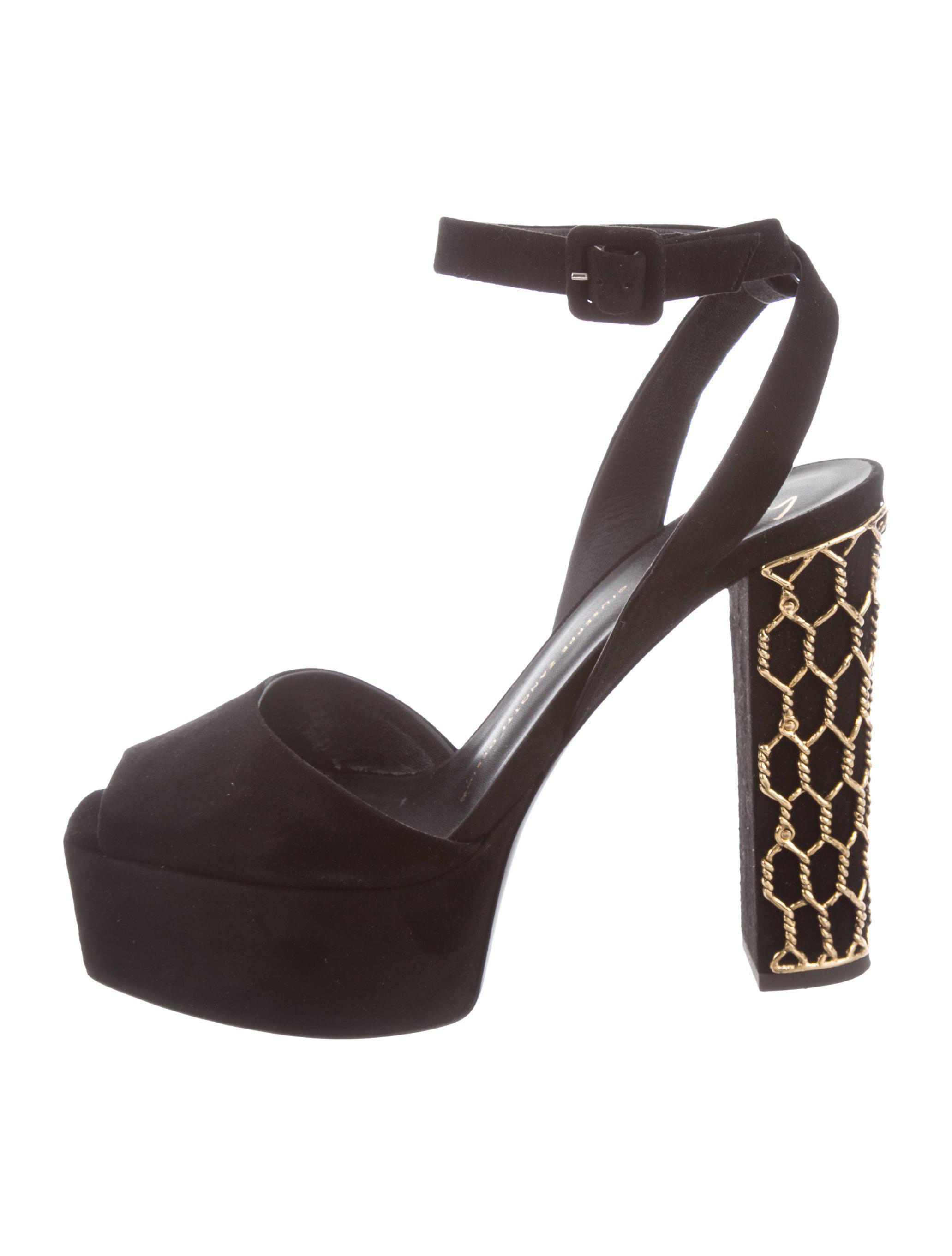 b8fbaad78152 Lyst - Giuseppe Zanotti Embellished Suede Sandals Black in Metallic