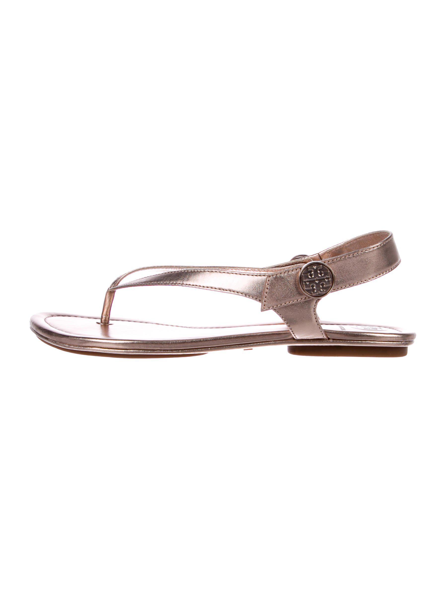 37852a001d18 Lyst - Tory Burch Leather Thong Sandals Rose in Metallic