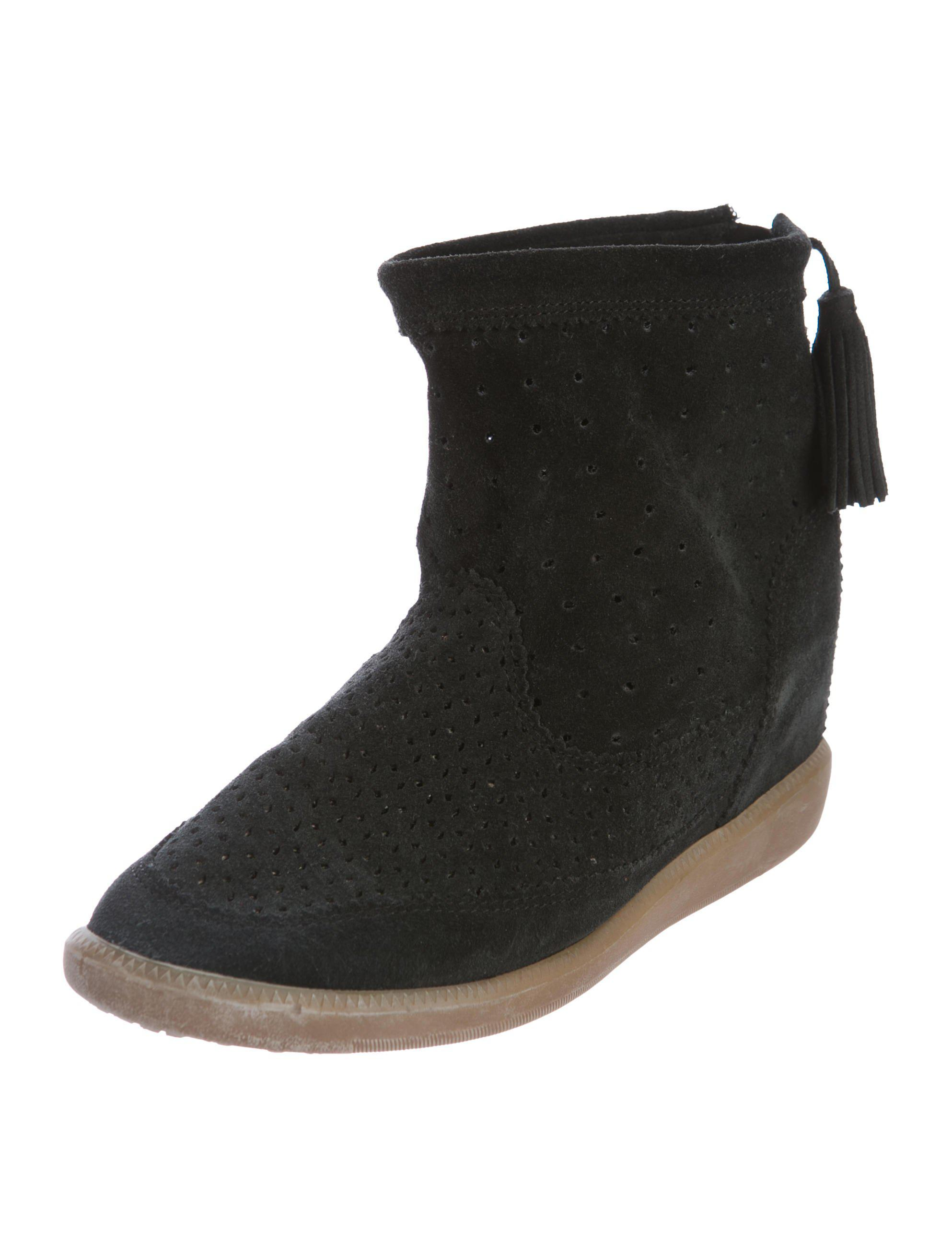 665c1d88abd1 Lyst - Isabel marant Suede Wedge Boots in Black