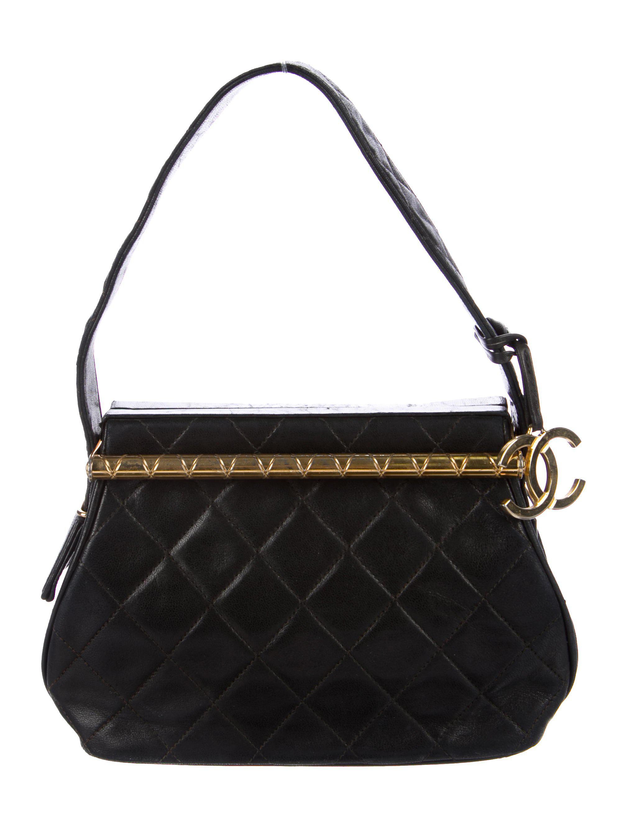 c3f2b599ff35 Lyst - Chanel Vintage Lambskin Quilted Frame Handle Bag Black in ...