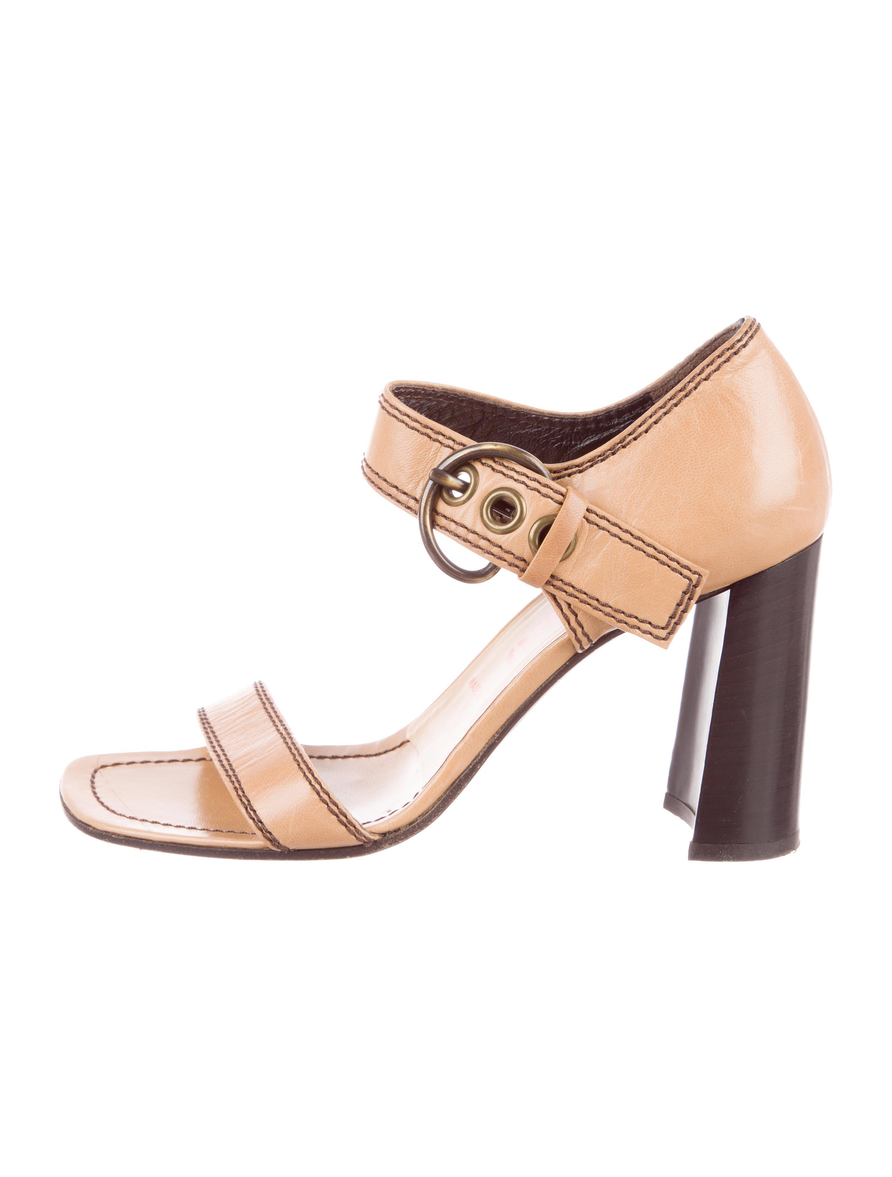 cd5dd99bb Lyst - Miu Miu Miu Ankle Strap Sandals Tan in Natural