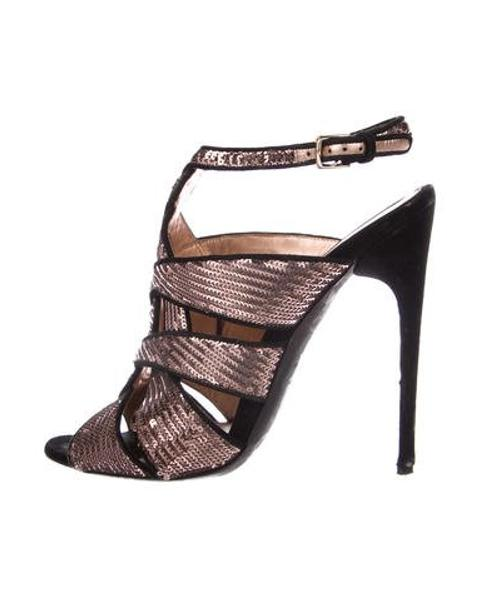 7d1a05e24348 Lyst - Tom Ford Sequin Open-toe Heels in Pink