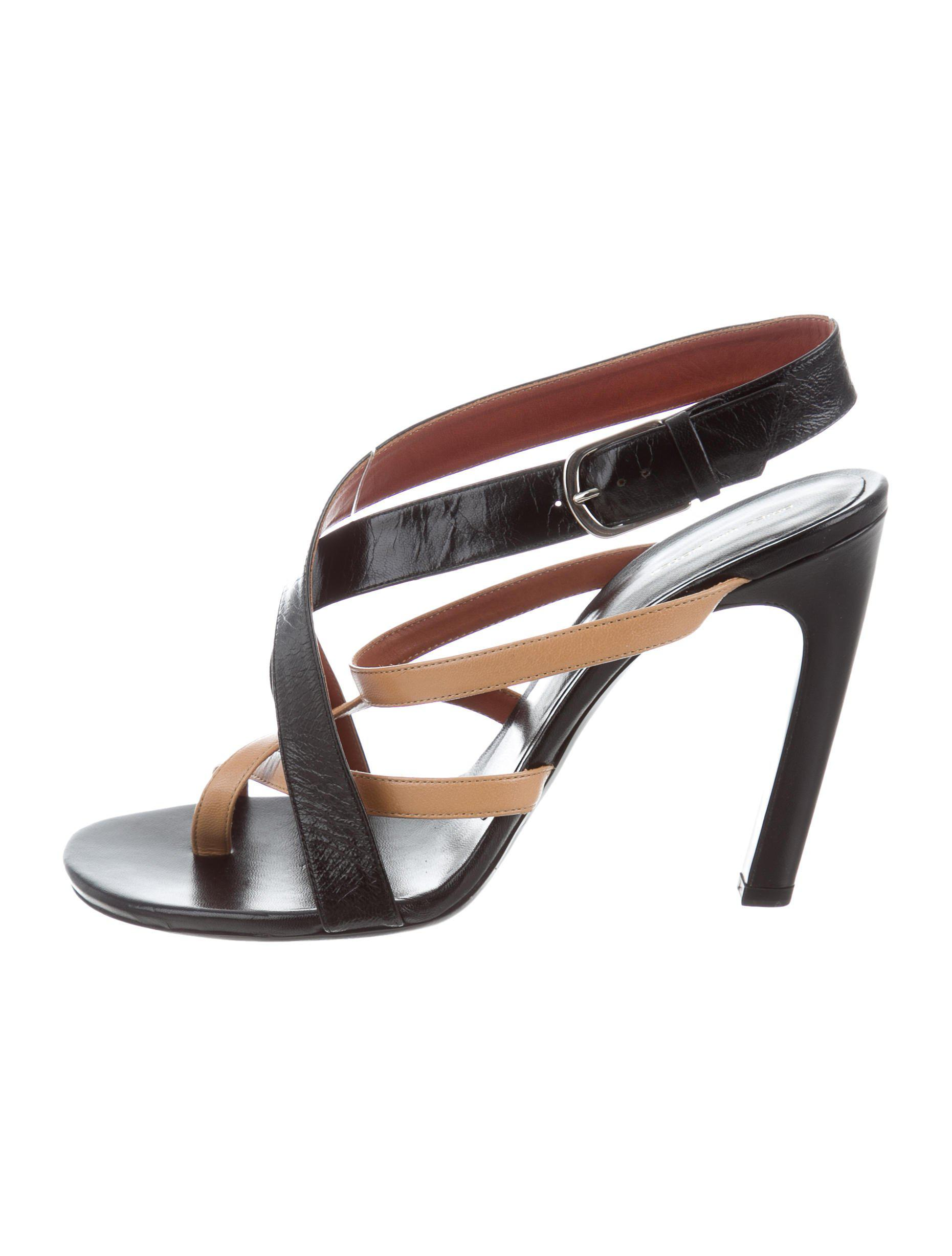 7db21387221aaa Lyst - Dries Van Noten Leather Slingback Sandals Black in Natural