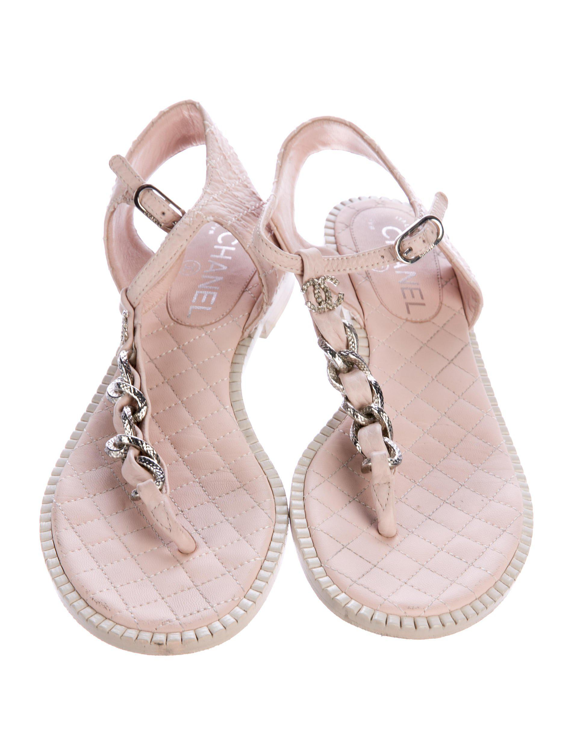 6be72d3c457071 Lyst - Chanel 2015 Cc Chain-link Sandals Pink in Metallic