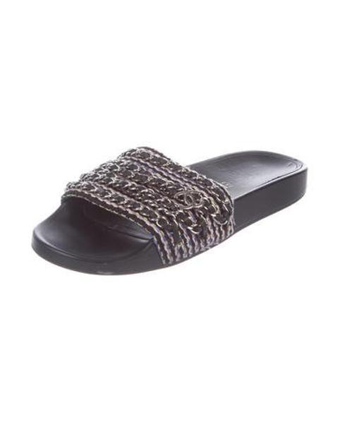 225009aa90d1 Lyst - Chanel 2016 Chain-link Tweed Sandals Pink in Metallic