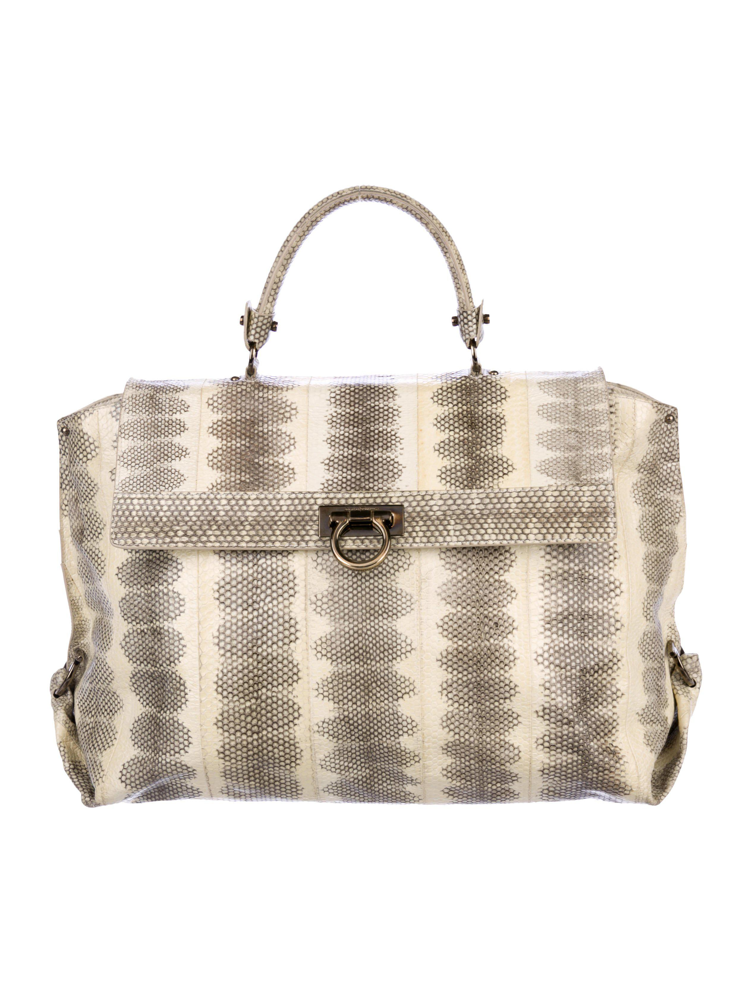 5d067d1446e4 Lyst - Ferragamo Large Snakeskin Sofia Bag Brown in Gray