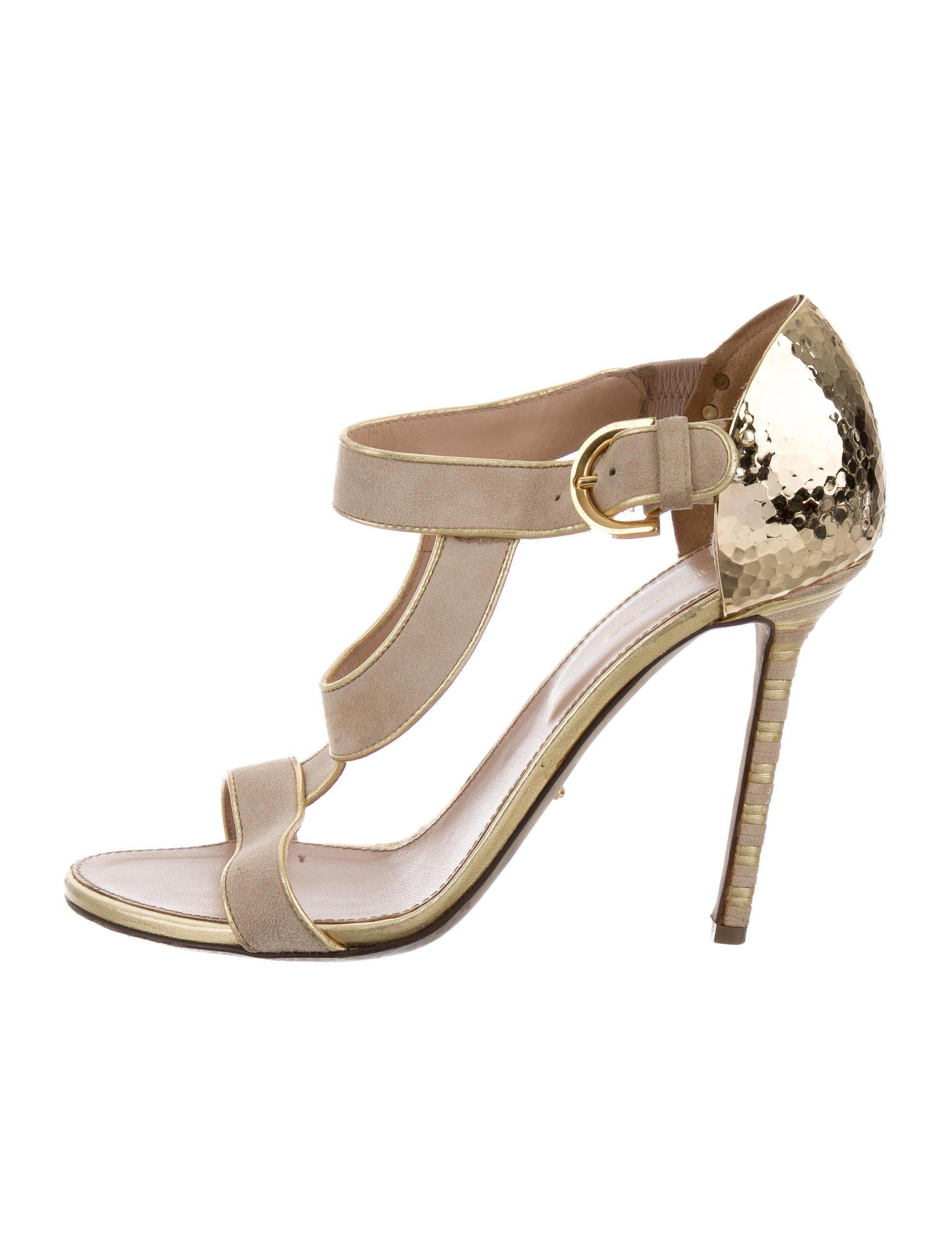 Sergio Rossi Metallic Leather-Trimmed Suede Sandals cheap shop for find great for sale shopping online clearance for nice cheap online WezkCpcer