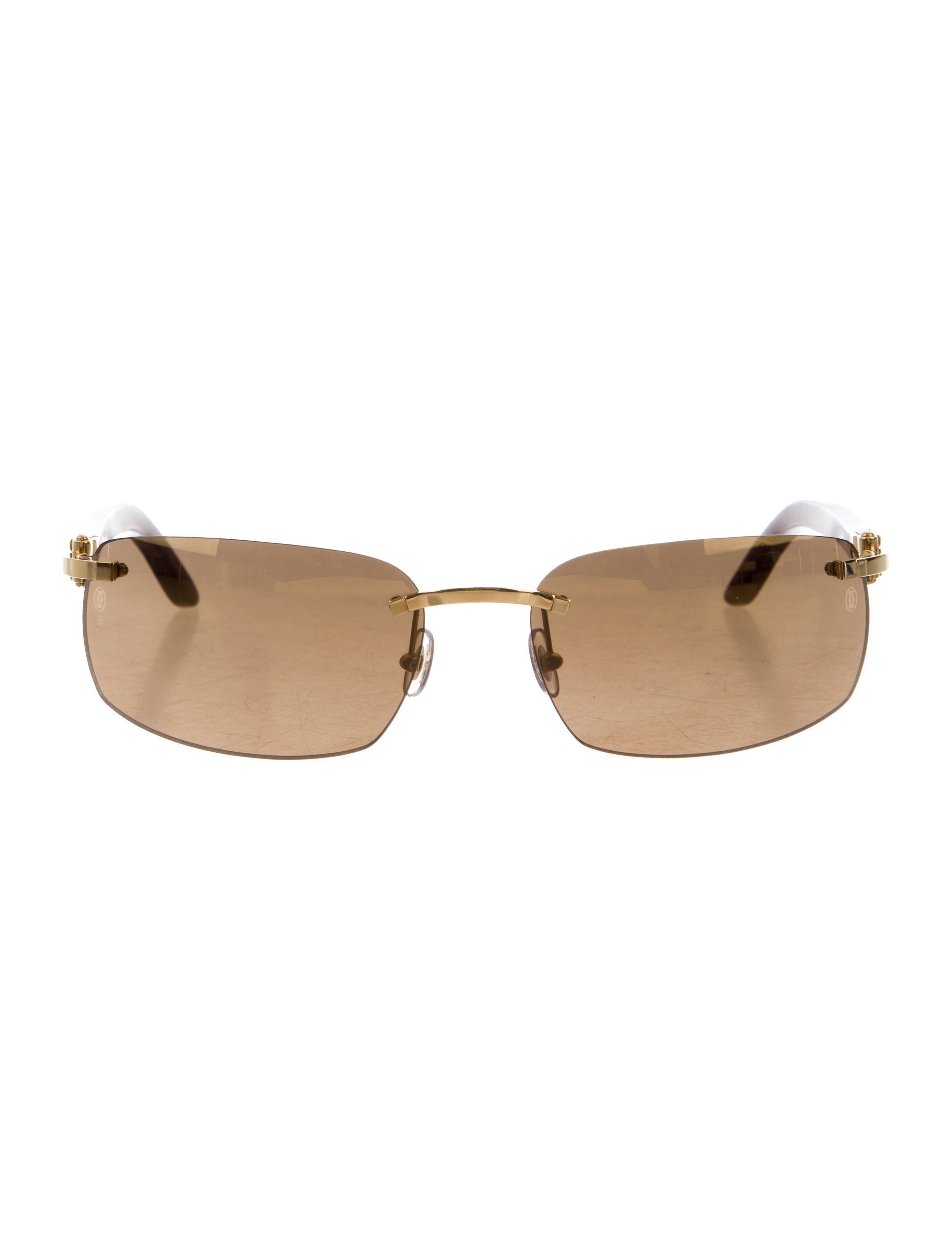 378688290ca Lyst - Cartier Reflective Rimless Sunglasses Gold in Metallic